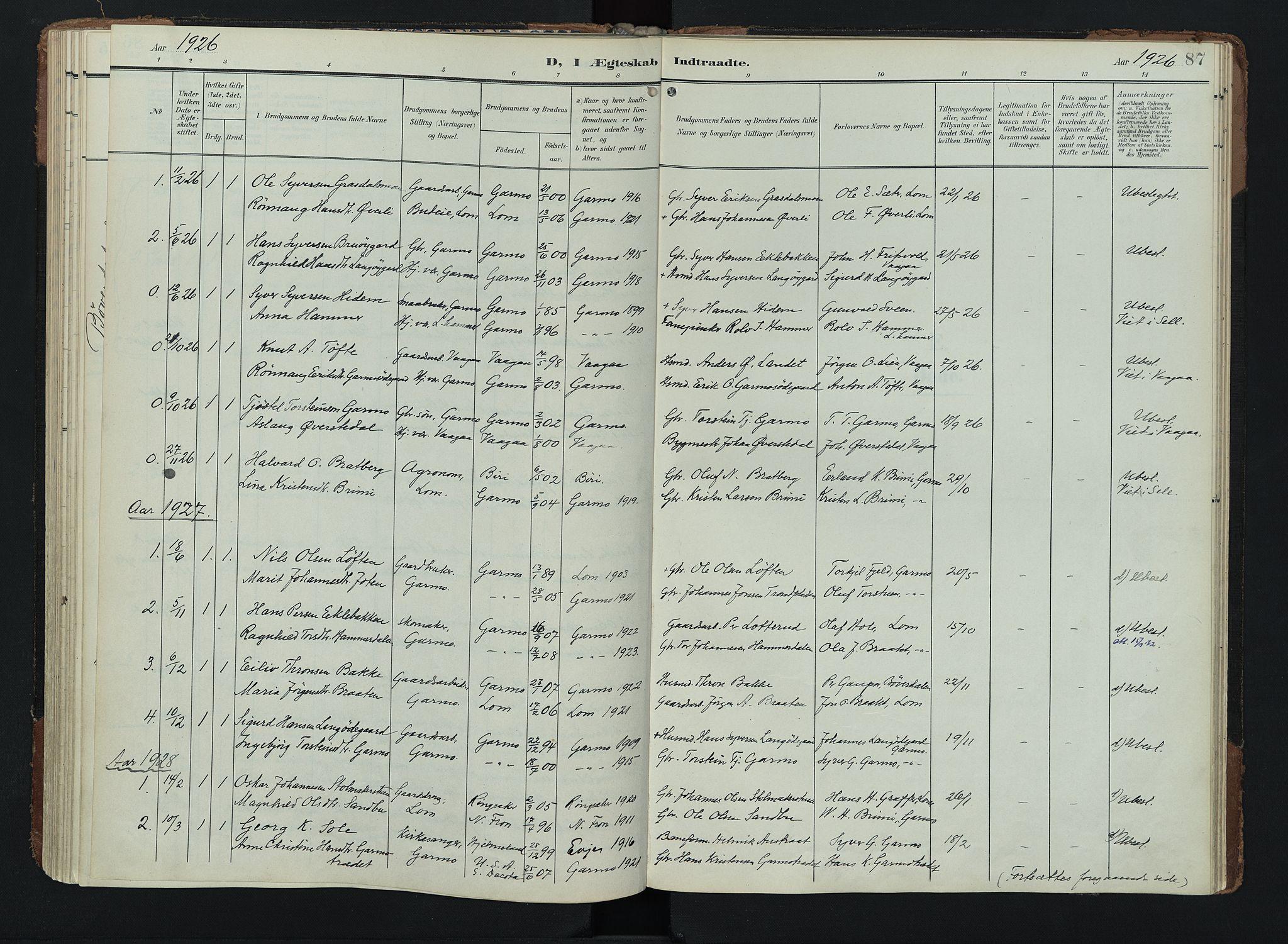 SAH, Lom prestekontor, K/L0011: Ministerialbok nr. 11, 1904-1928, s. 87