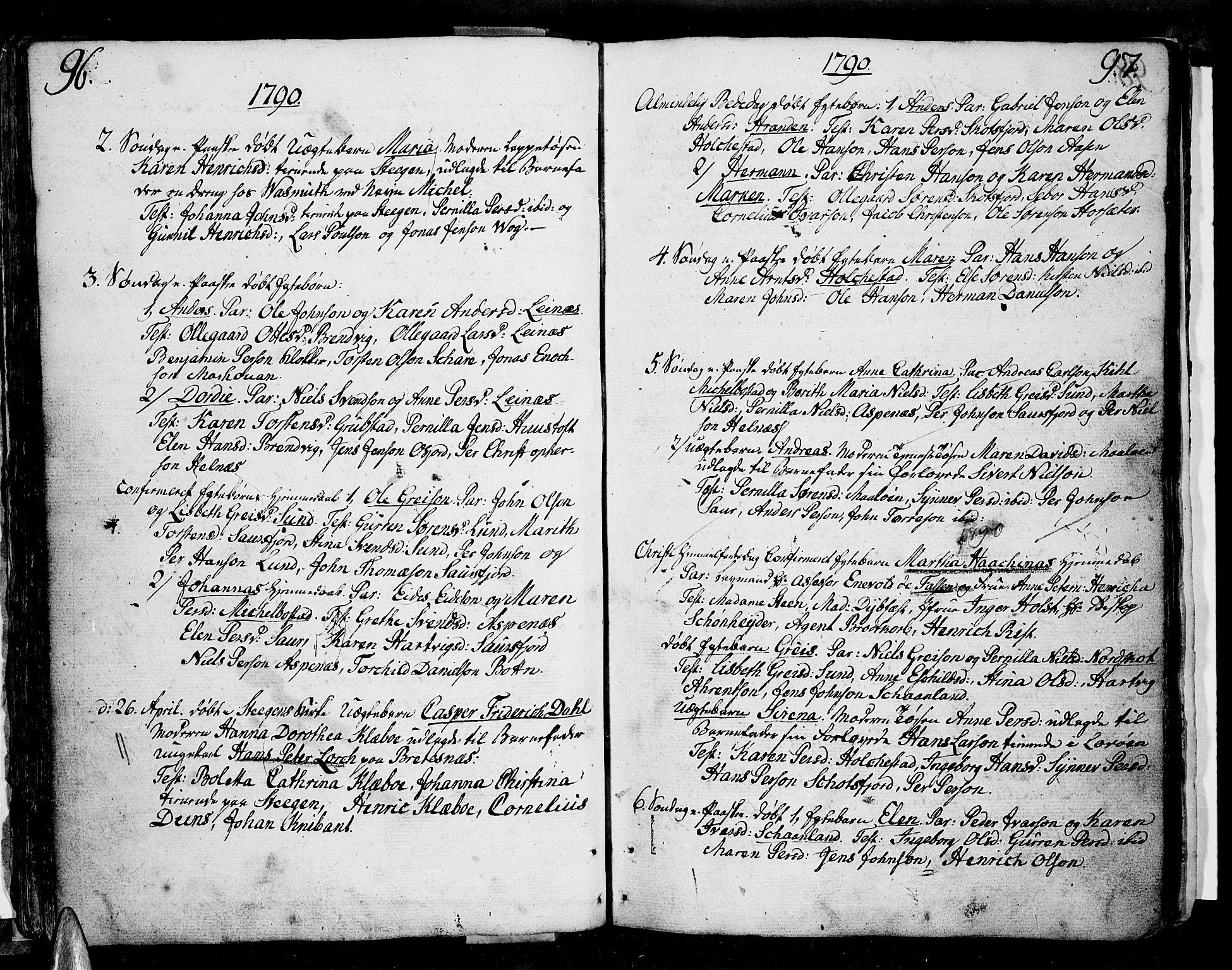 SAT, Ministerialprotokoller, klokkerbøker og fødselsregistre - Nordland, 855/L0796: Ministerialbok nr. 855A04, 1776-1813, s. 96-97