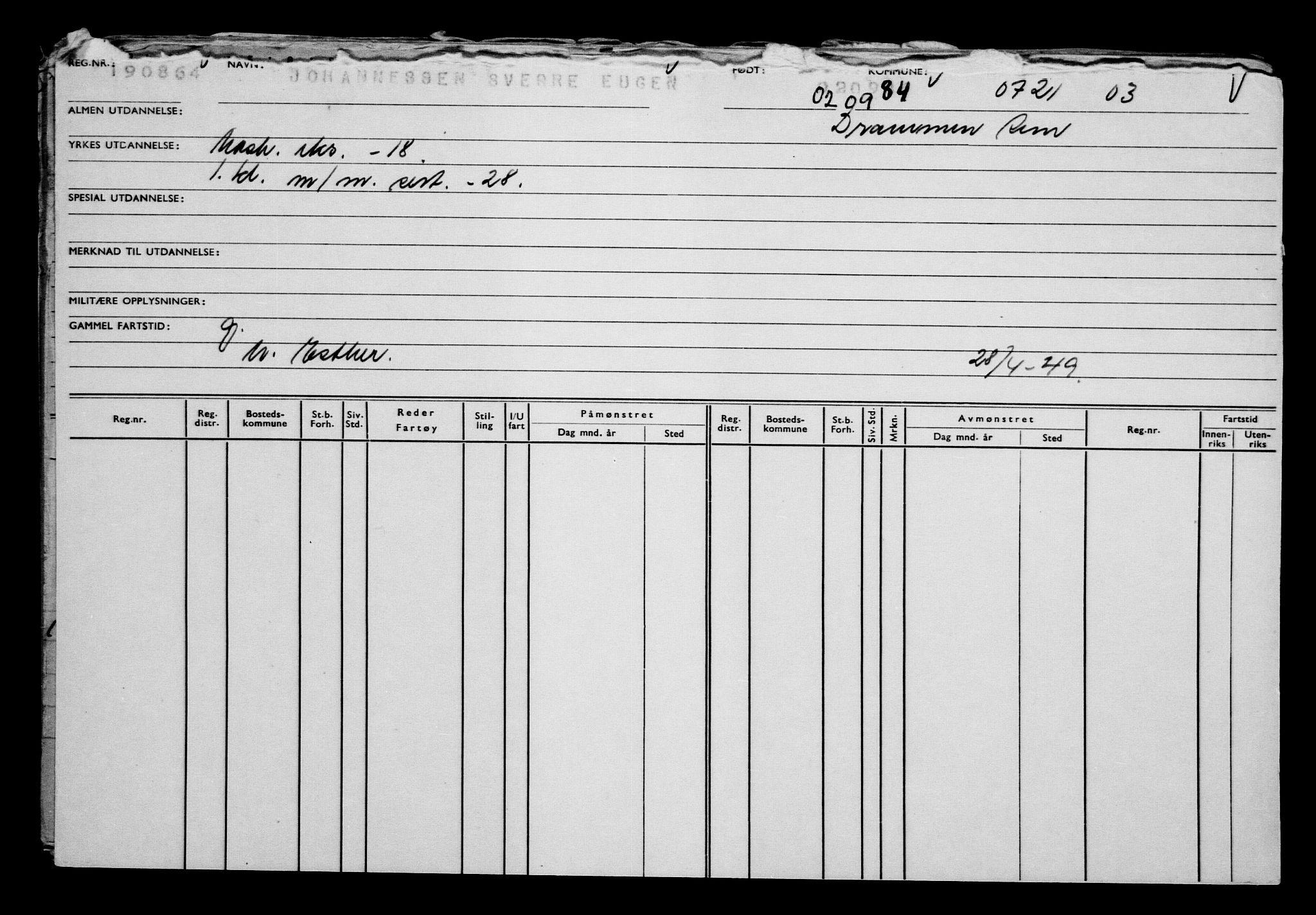 RA, Direktoratet for sjømenn, G/Gb/L0002: Hovedkort, 1883-1885, s. 380