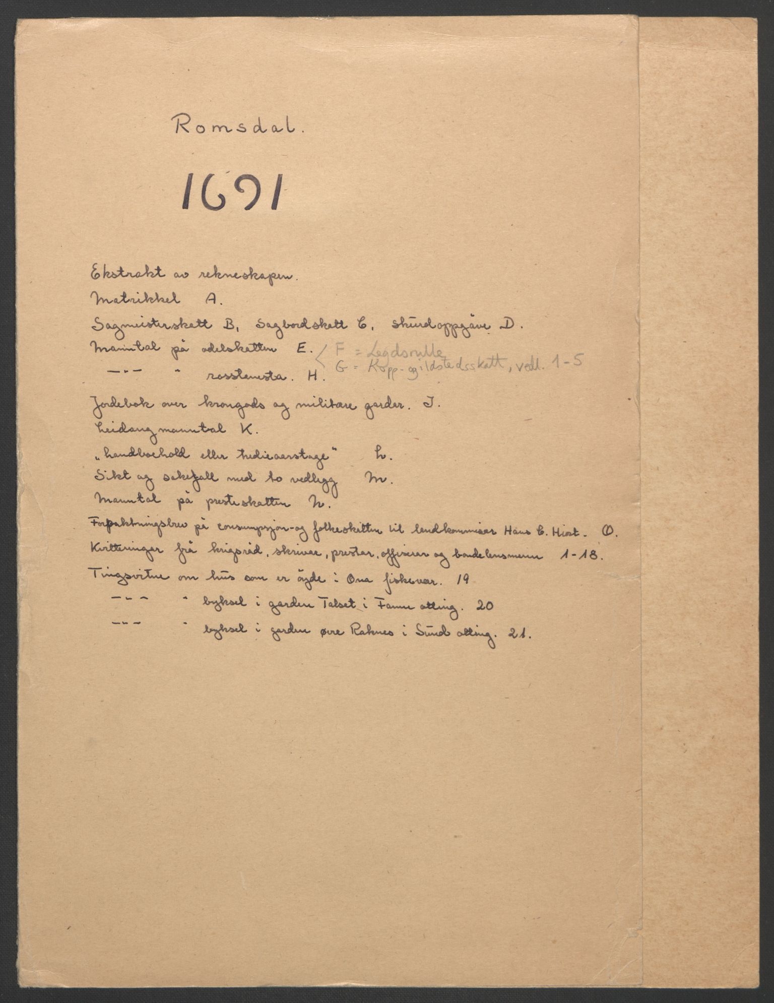 RA, Rentekammeret inntil 1814, Reviderte regnskaper, Fogderegnskap, R55/L3649: Fogderegnskap Romsdal, 1690-1691, s. 191