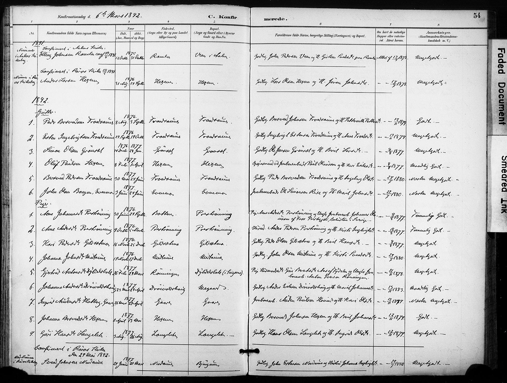 SAT, Ministerialprotokoller, klokkerbøker og fødselsregistre - Sør-Trøndelag, 685/L0973: Ministerialbok nr. 685A10, 1891-1907, s. 54
