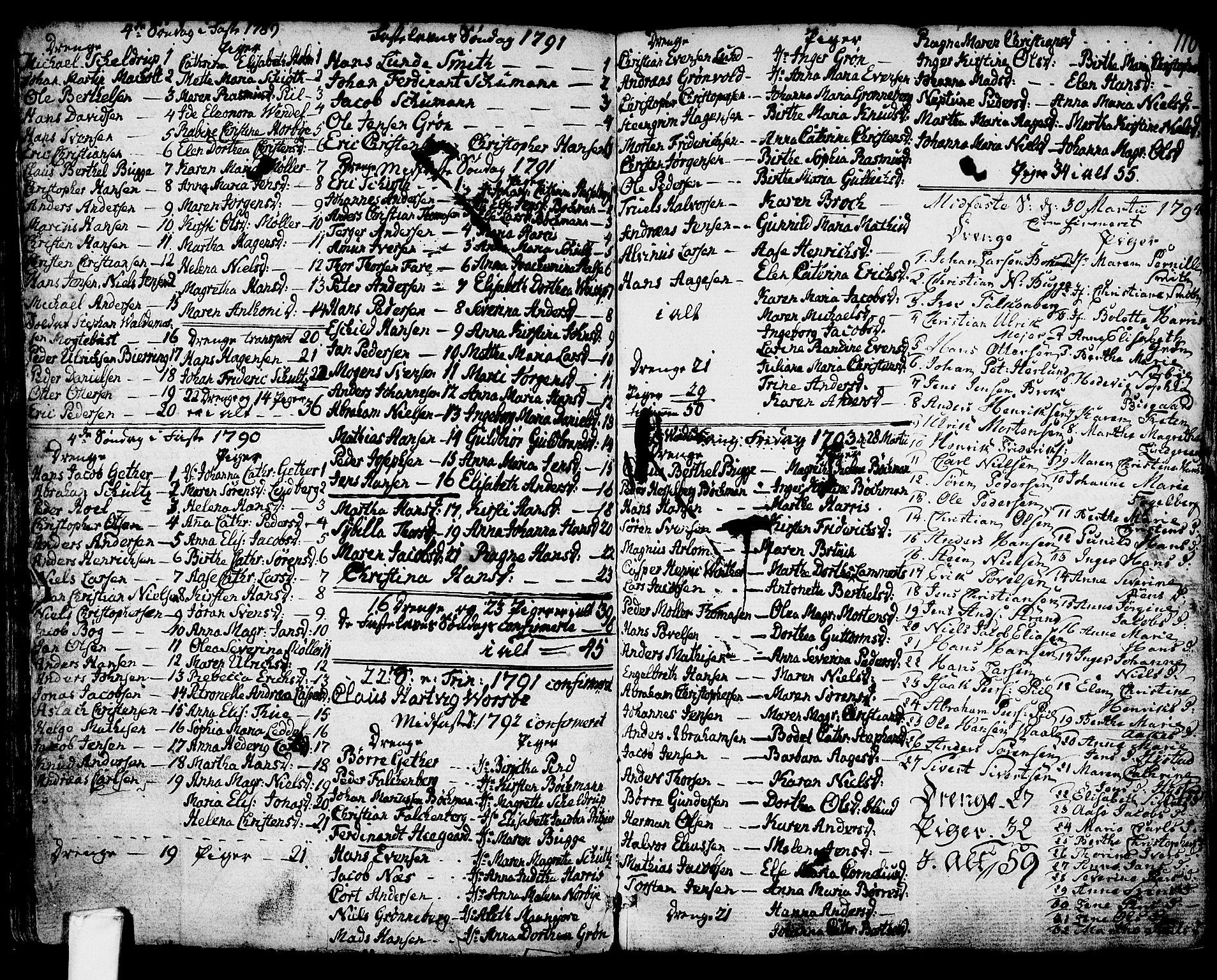 SAKO, Larvik kirkebøker, G/Ga/L0001: Klokkerbok nr. I 1, 1785-1807, s. 110