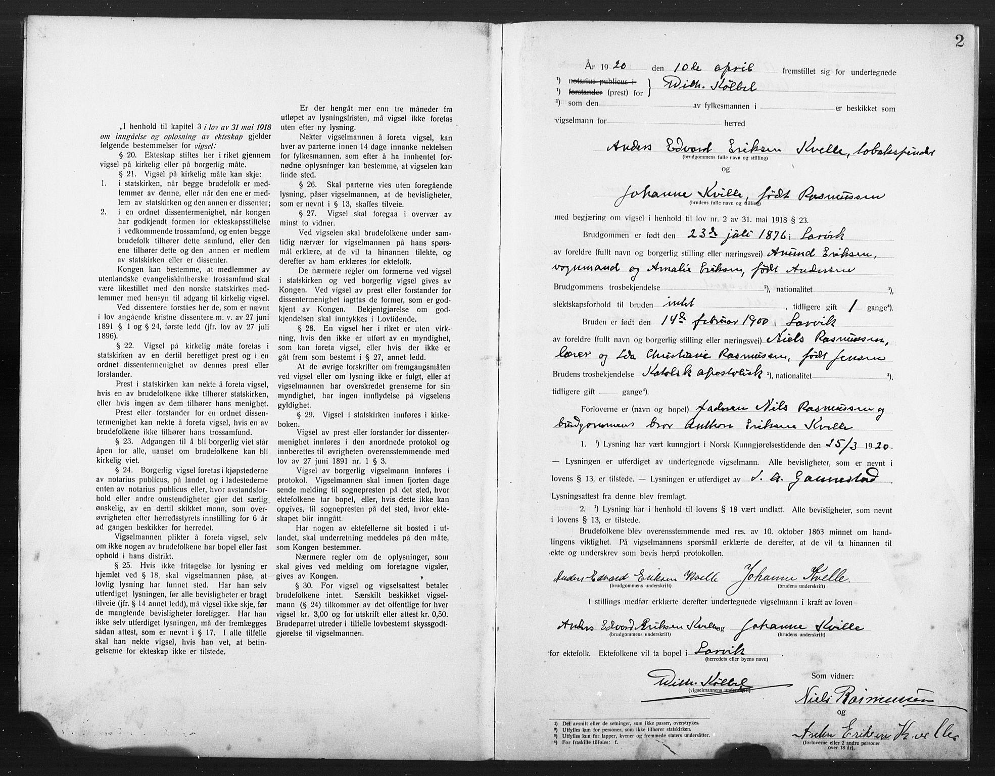 SAKO, Den katolsk-apostoliske menighet i Larvik, H/Ha/L0002: Dissenterprotokoll nr. 2, 1920-1922, s. 2