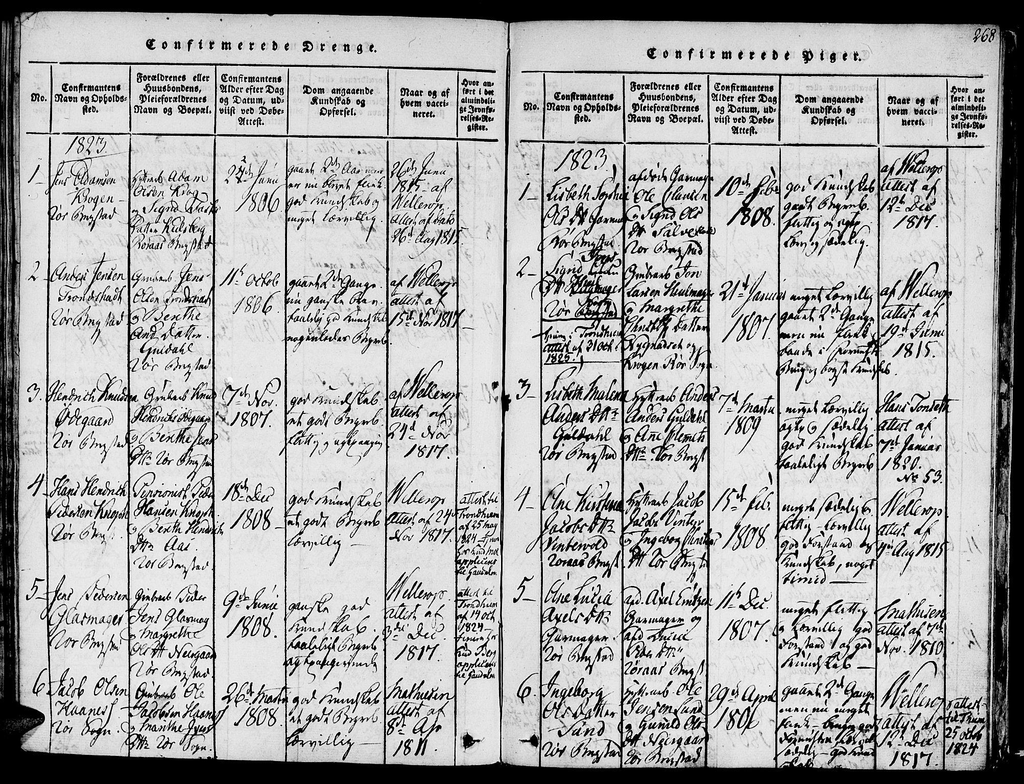 SAT, Ministerialprotokoller, klokkerbøker og fødselsregistre - Sør-Trøndelag, 681/L0929: Ministerialbok nr. 681A07, 1817-1828, s. 268