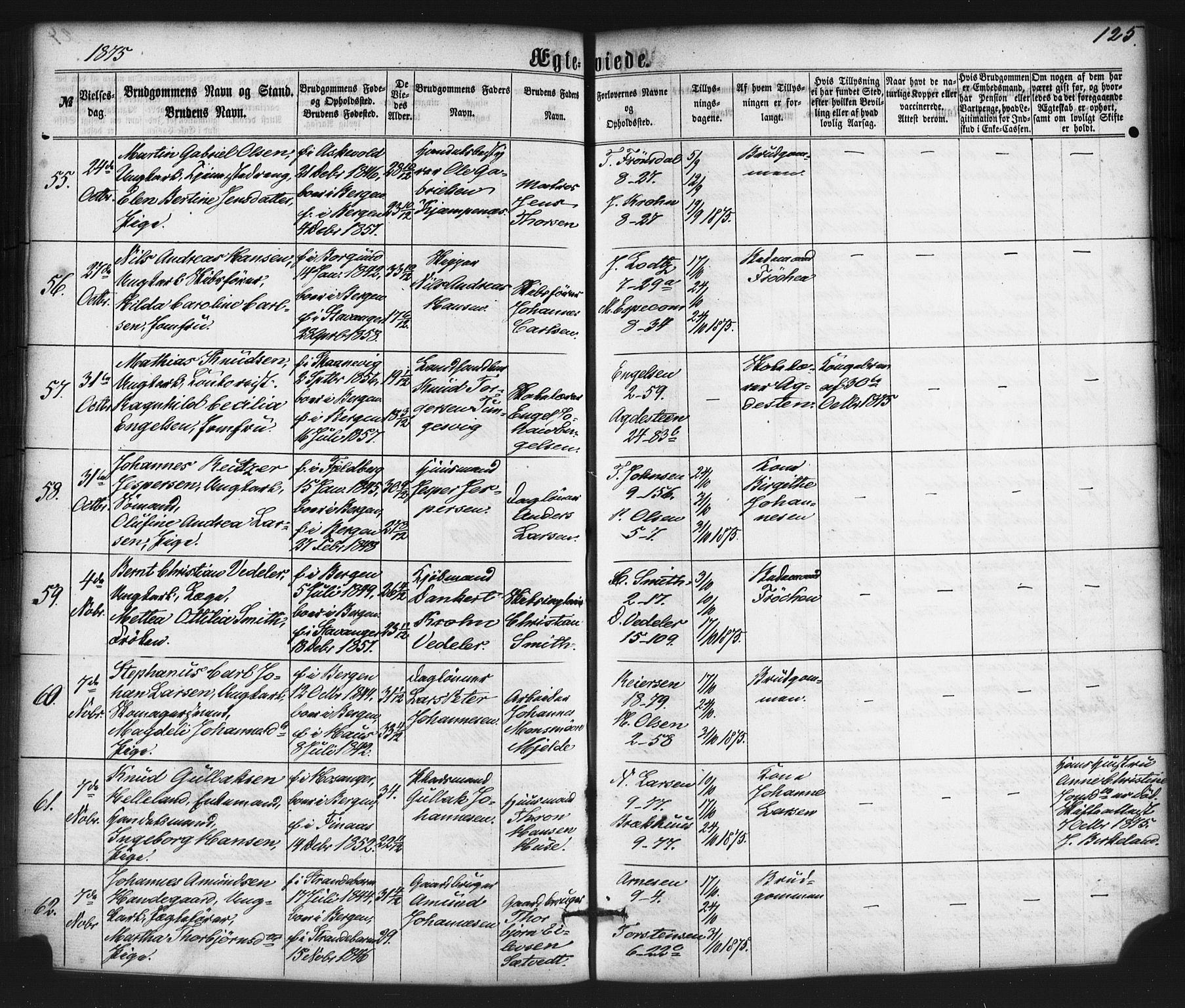 SAB, Nykirken Sokneprestembete, H/Haa: Ministerialbok nr. D 2, 1861-1883, s. 125