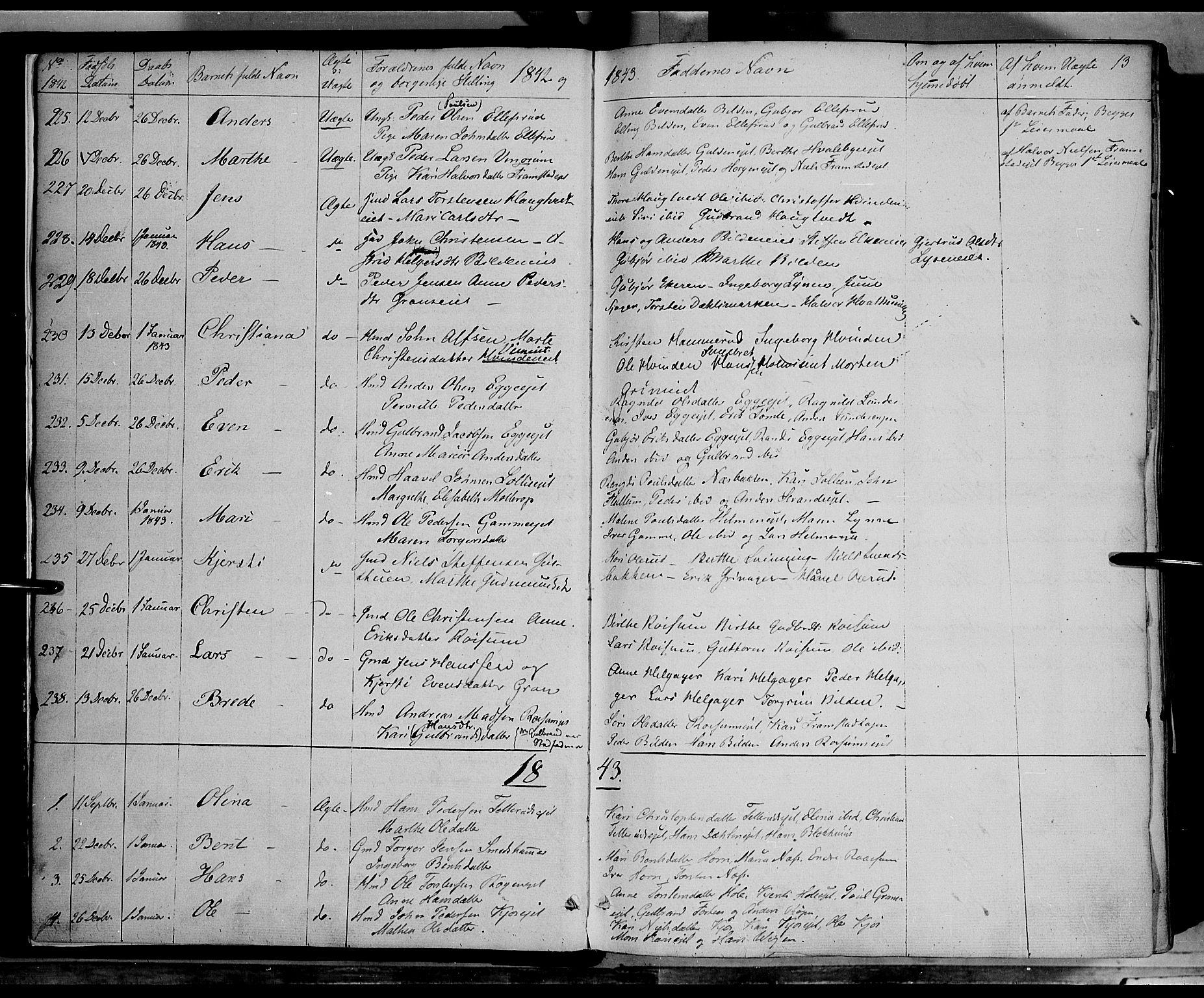 SAH, Gran prestekontor, Ministerialbok nr. 11, 1842-1856, s. 12-13