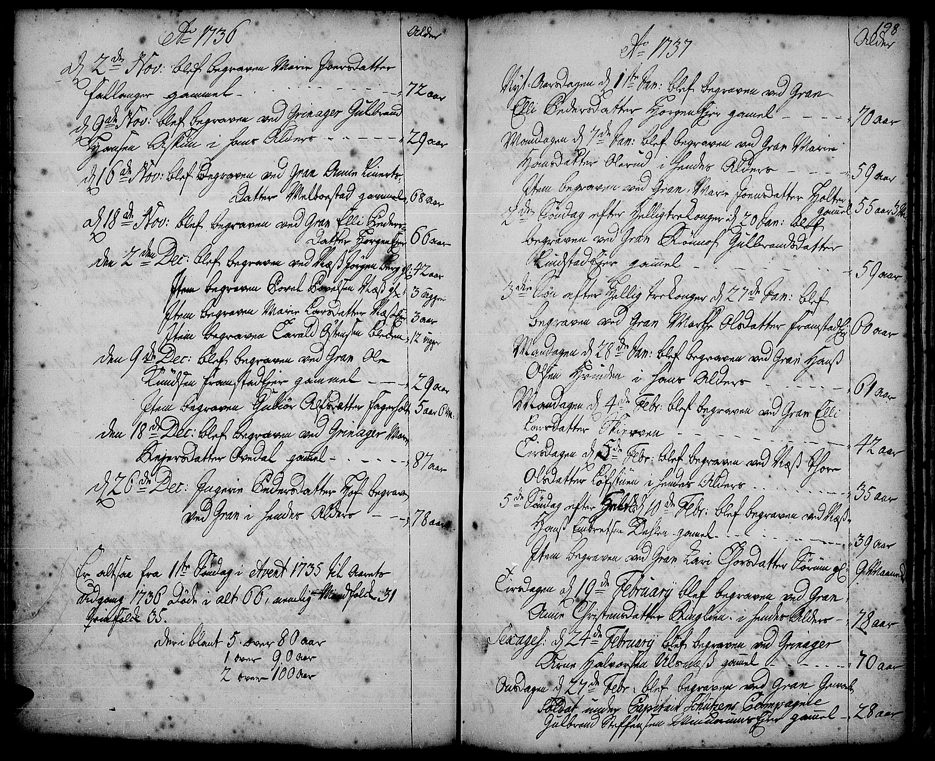SAH, Gran prestekontor, Ministerialbok nr. 2, 1732-1744, s. 198