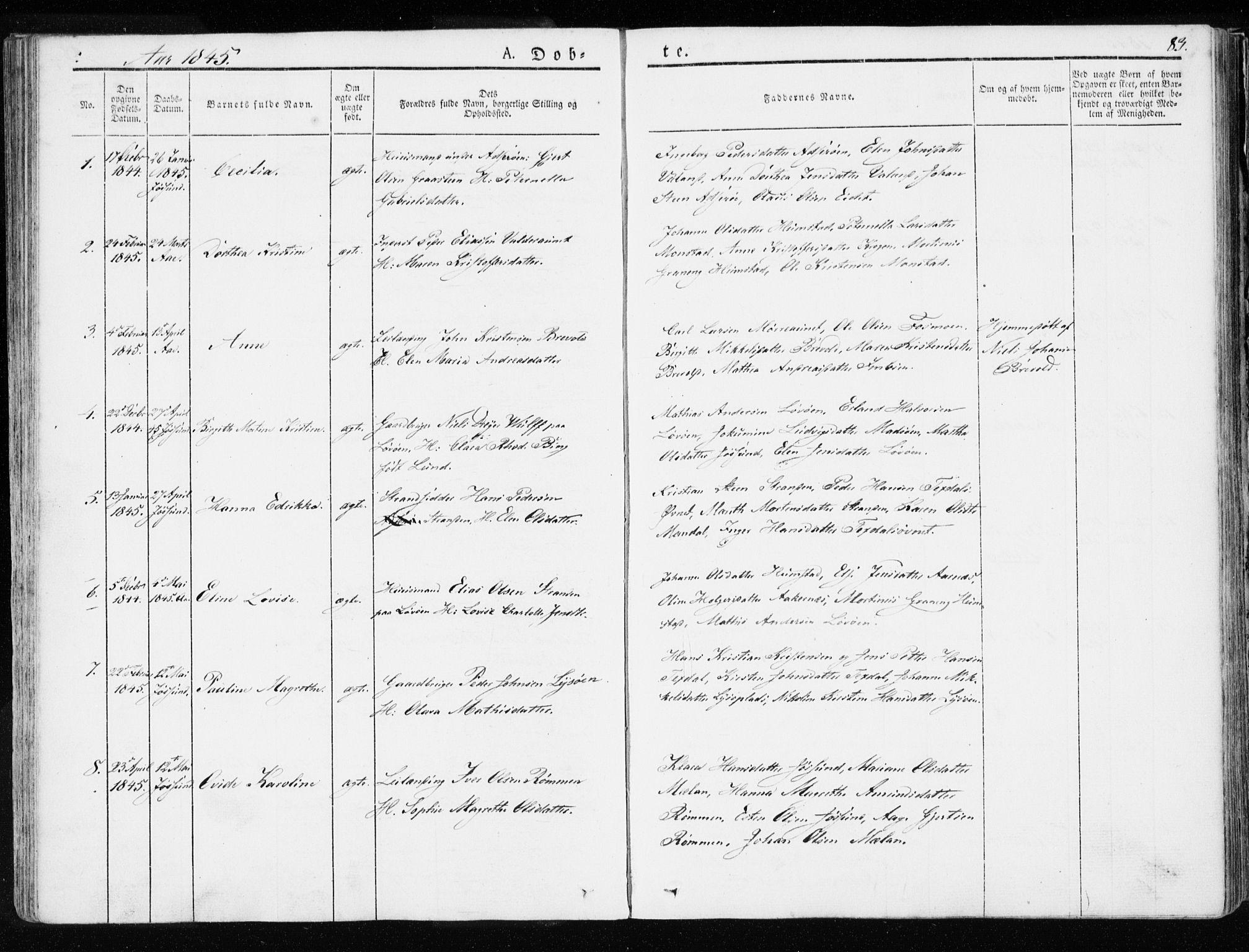 SAT, Ministerialprotokoller, klokkerbøker og fødselsregistre - Sør-Trøndelag, 655/L0676: Ministerialbok nr. 655A05, 1830-1847, s. 83