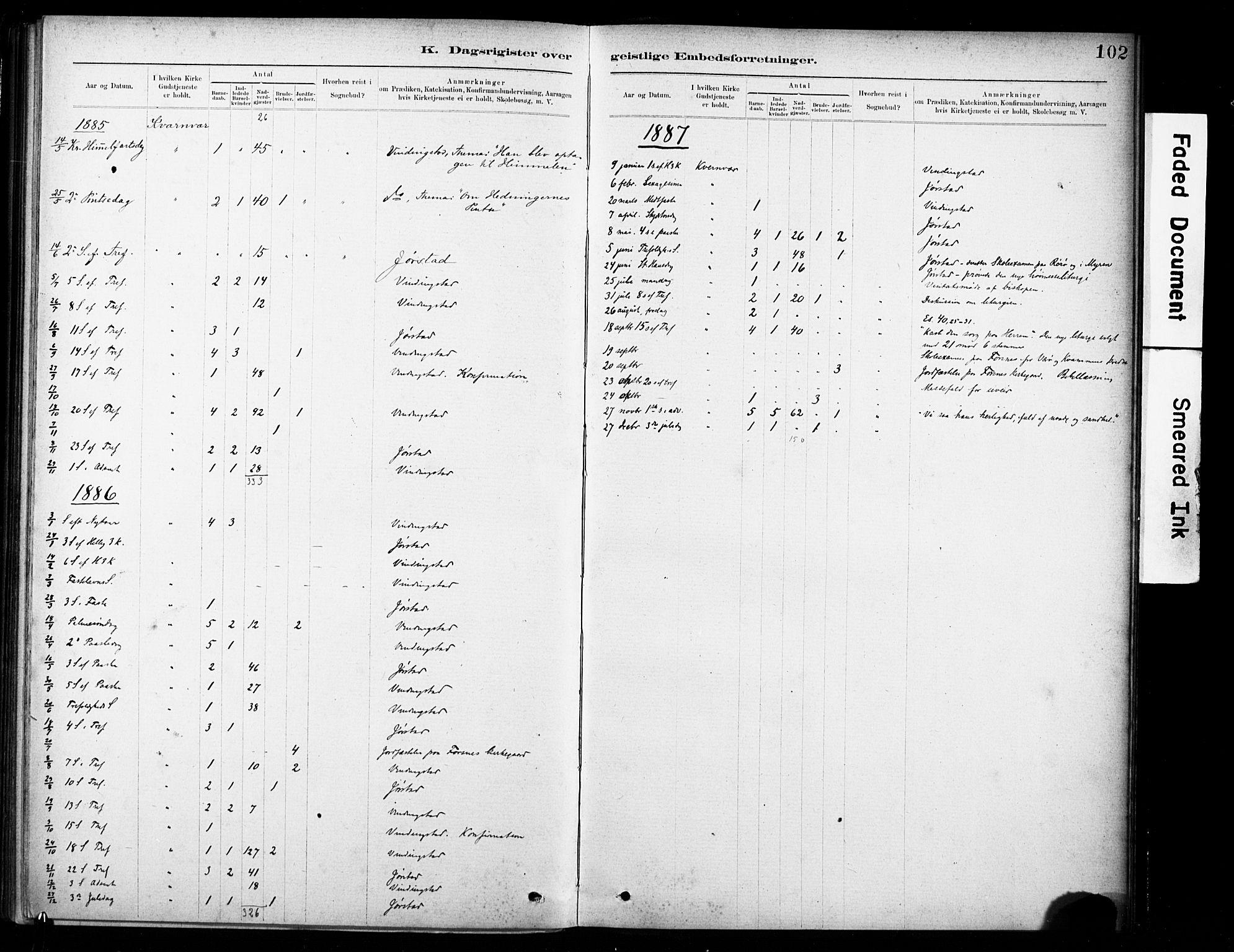 SAT, Ministerialprotokoller, klokkerbøker og fødselsregistre - Sør-Trøndelag, 635/L0551: Ministerialbok nr. 635A01, 1882-1899, s. 102