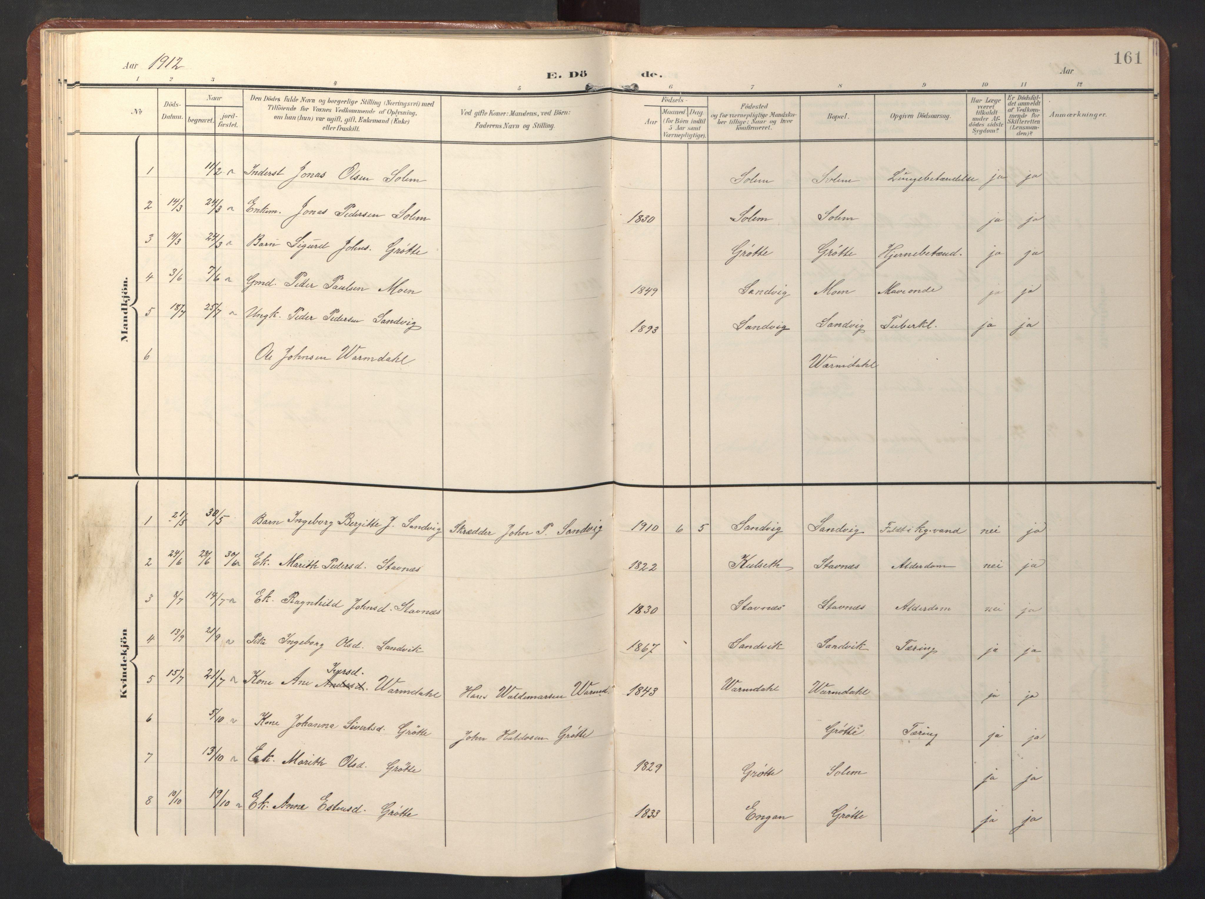 SAT, Ministerialprotokoller, klokkerbøker og fødselsregistre - Sør-Trøndelag, 696/L1161: Klokkerbok nr. 696C01, 1902-1950, s. 161