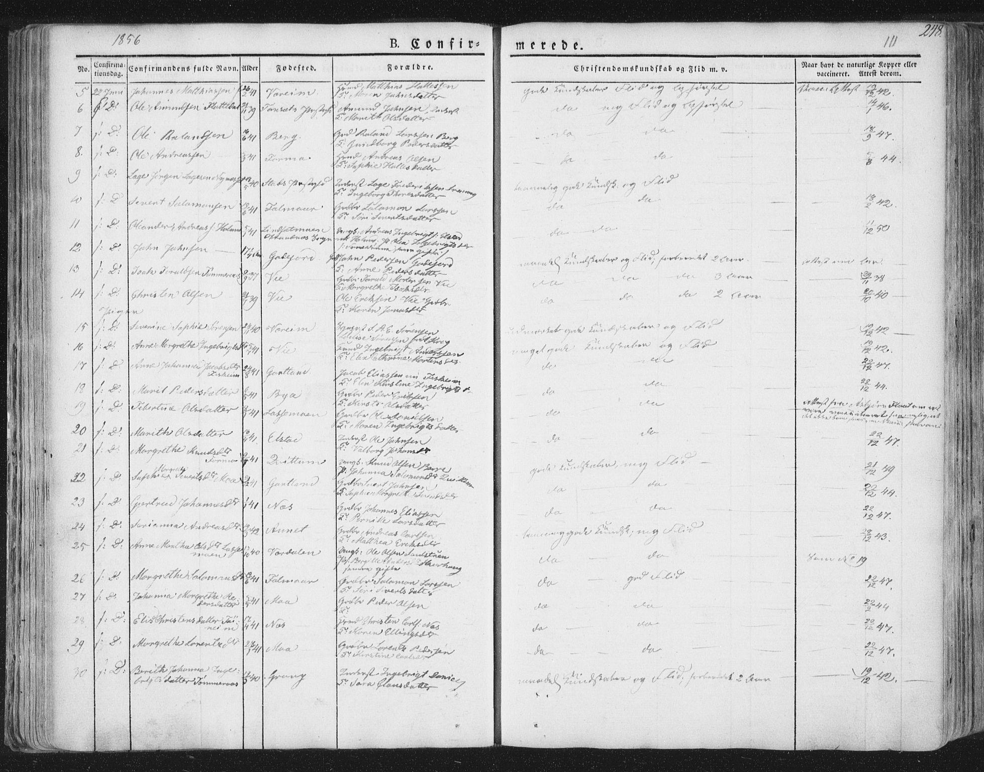 SAT, Ministerialprotokoller, klokkerbøker og fødselsregistre - Nord-Trøndelag, 758/L0513: Ministerialbok nr. 758A02 /1, 1839-1868, s. 111