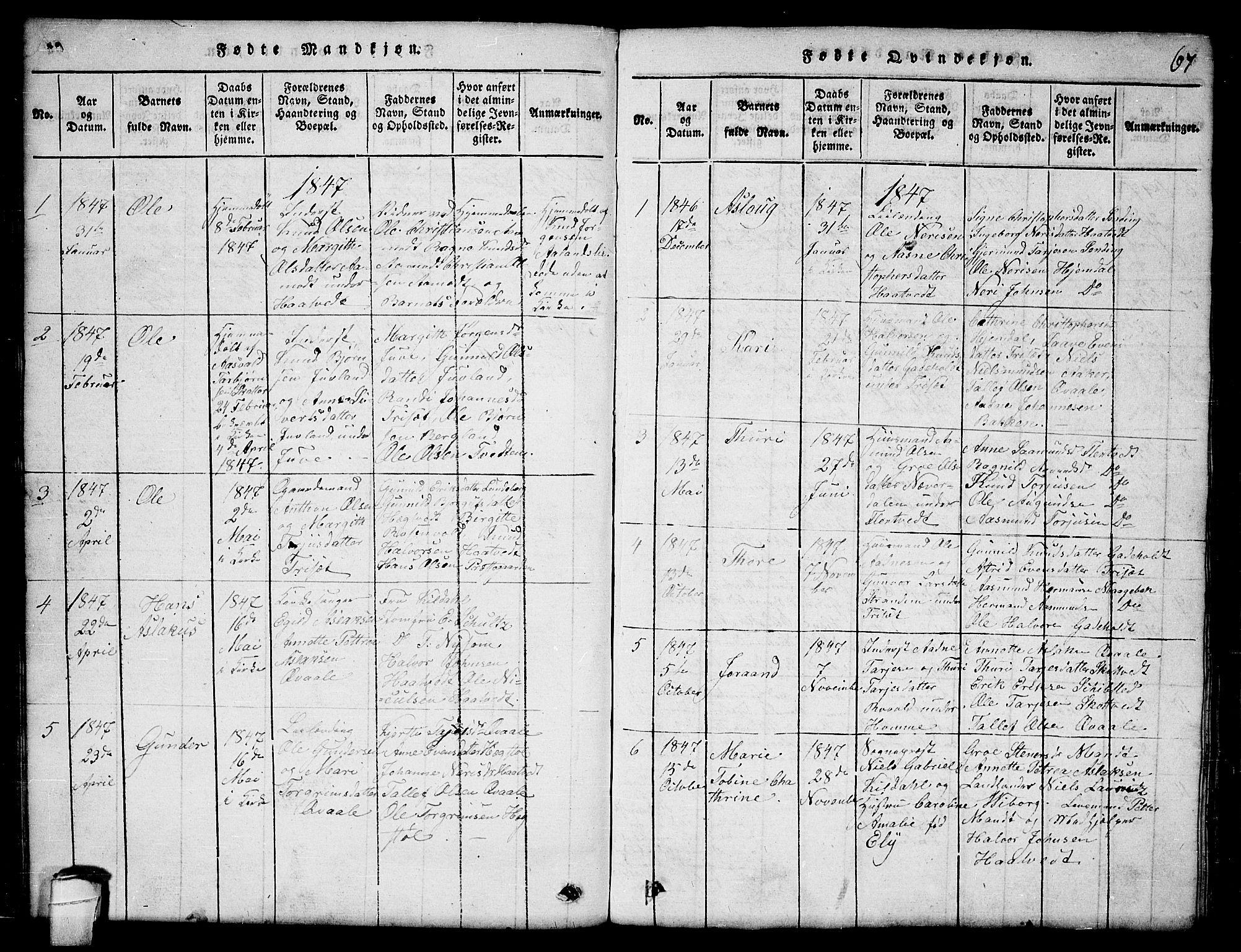 SAKO, Lårdal kirkebøker, G/Ga/L0001: Klokkerbok nr. I 1, 1815-1861, s. 67