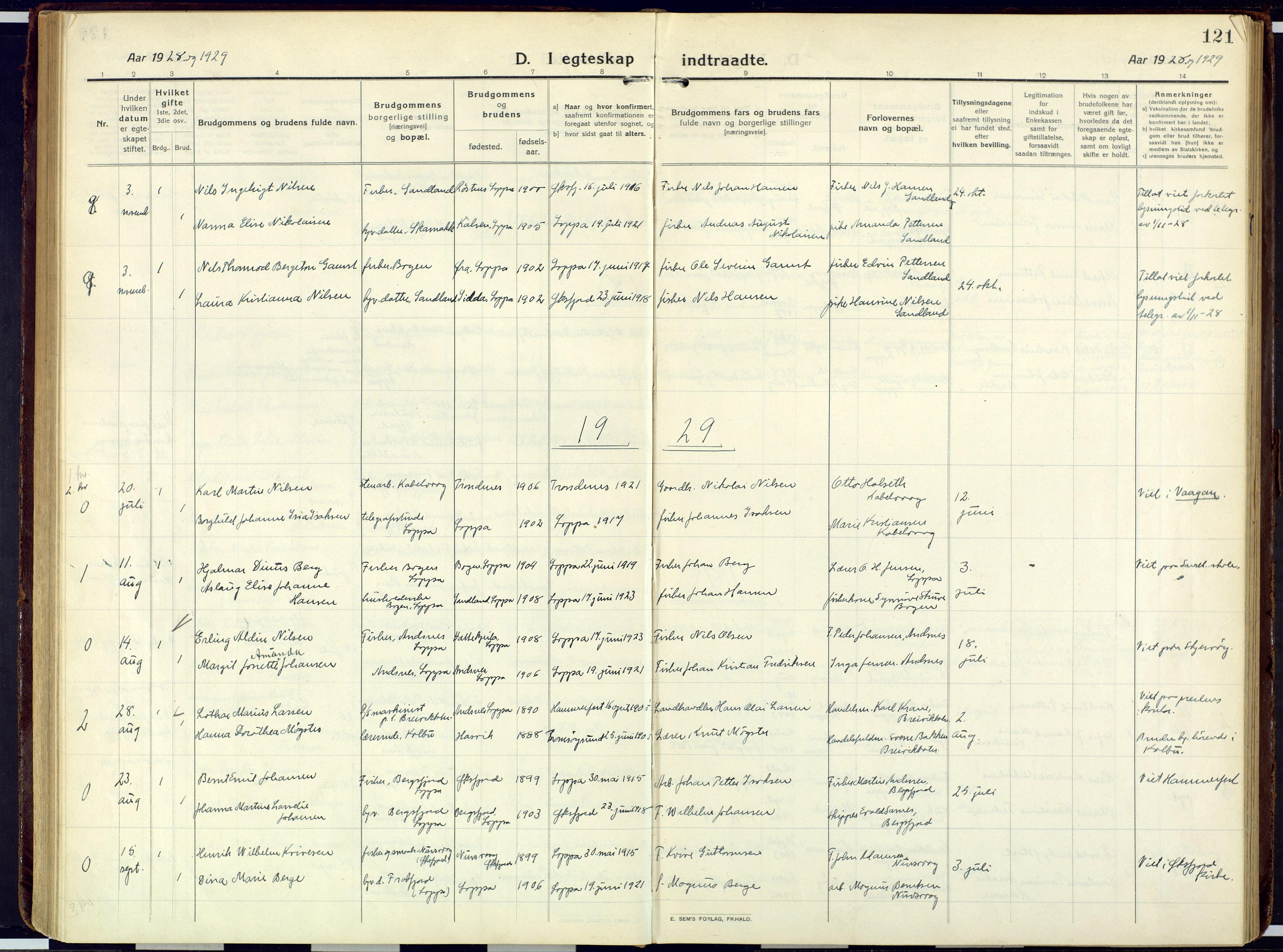 SATØ, Loppa sokneprestkontor, H/Ha/L0013kirke: Ministerialbok nr. 13, 1920-1932, s. 121
