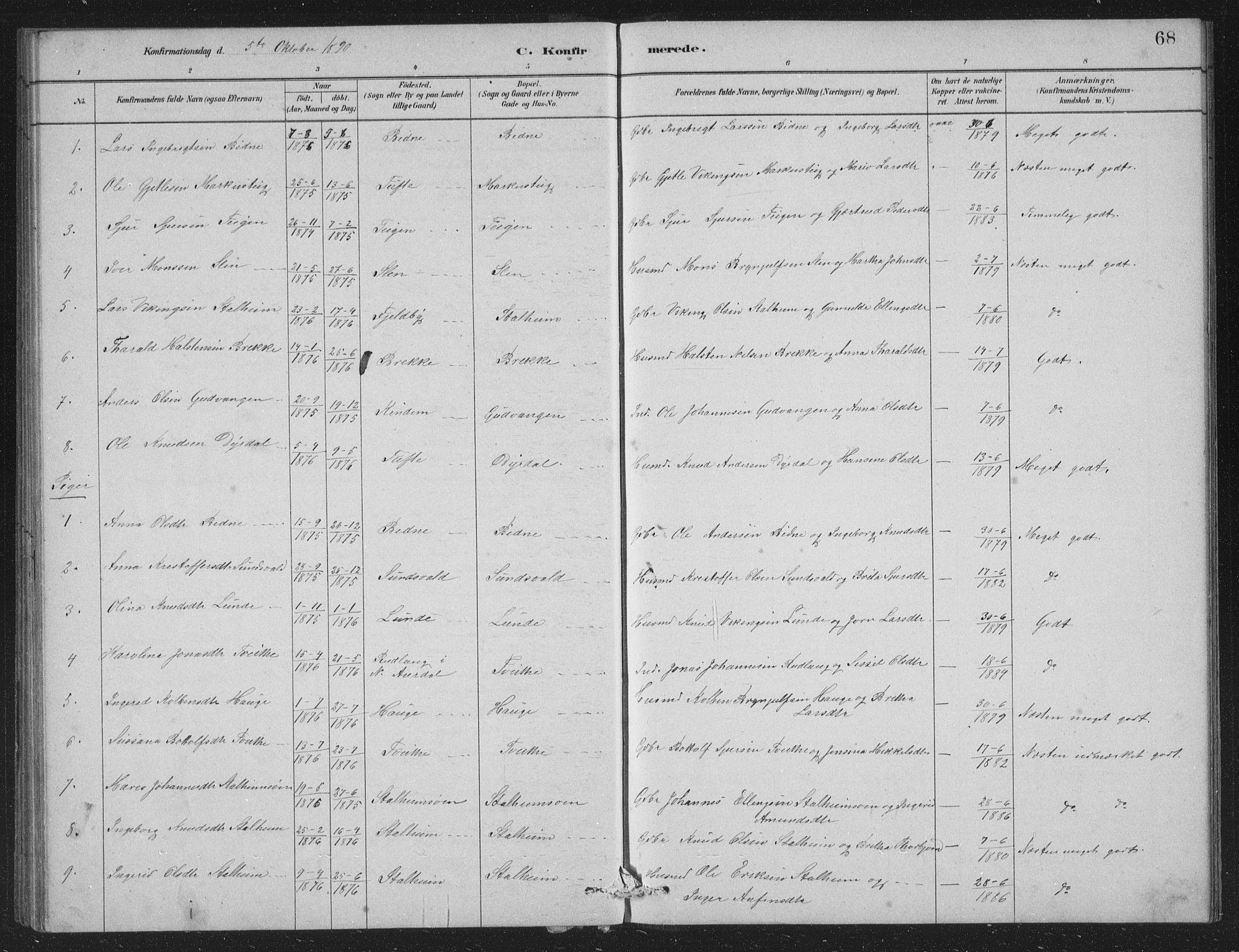 SAB, Vossestrand Sokneprestembete, H/Hab: Klokkerbok nr. A 2, 1880-1902, s. 68