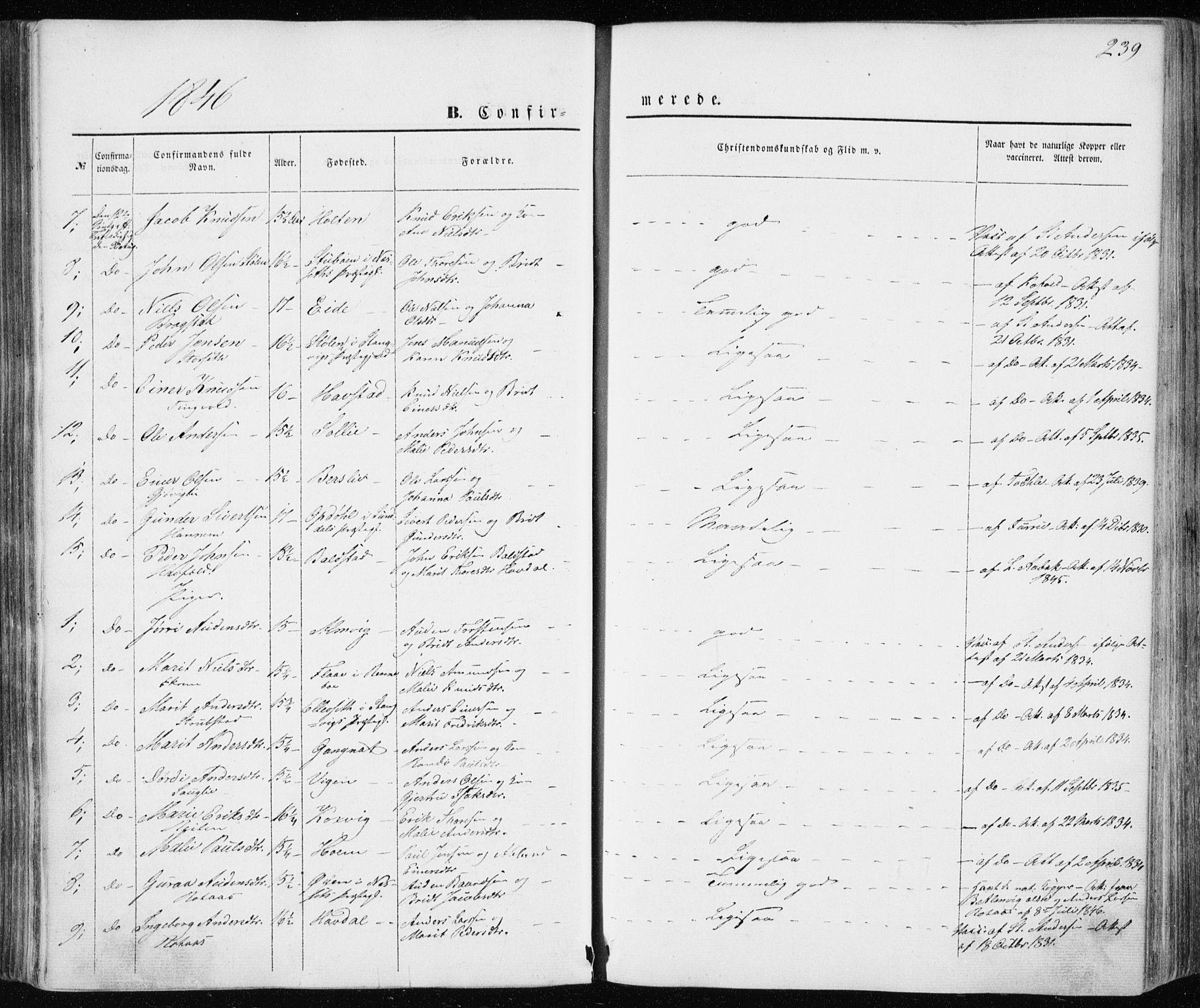 SAT, Ministerialprotokoller, klokkerbøker og fødselsregistre - Møre og Romsdal, 586/L0984: Ministerialbok nr. 586A10, 1844-1856, s. 239