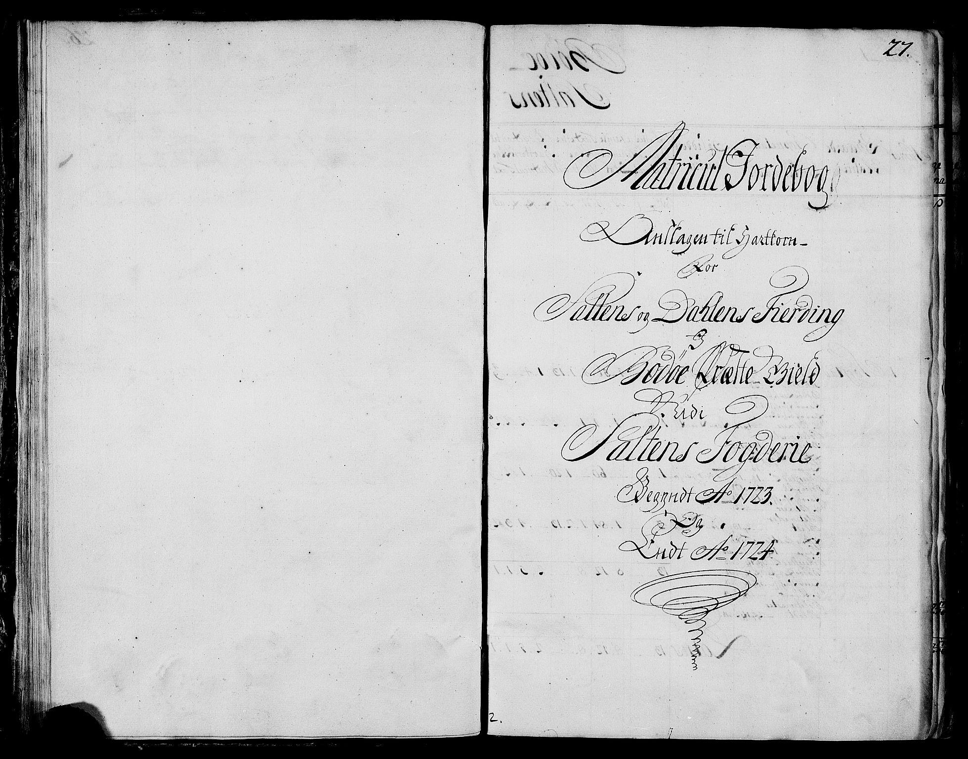 RA, Rentekammeret inntil 1814, Realistisk ordnet avdeling, N/Nb/Nbf/L0173: Salten matrikkelprotokoll, 1723, s. 26b-27a