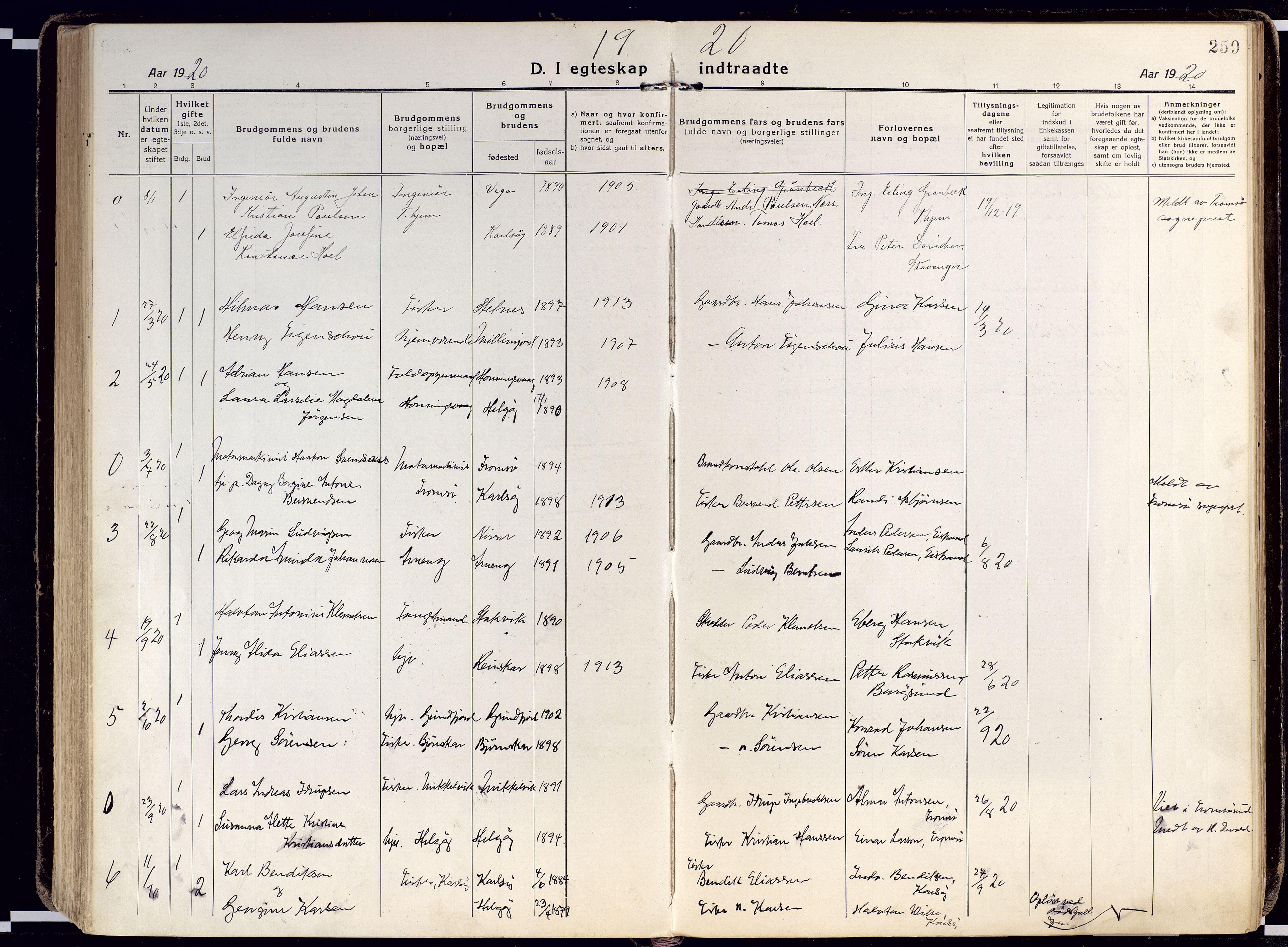 SATØ, Karlsøy sokneprestembete, Ministerialbok nr. 15, 1918-1929, s. 259