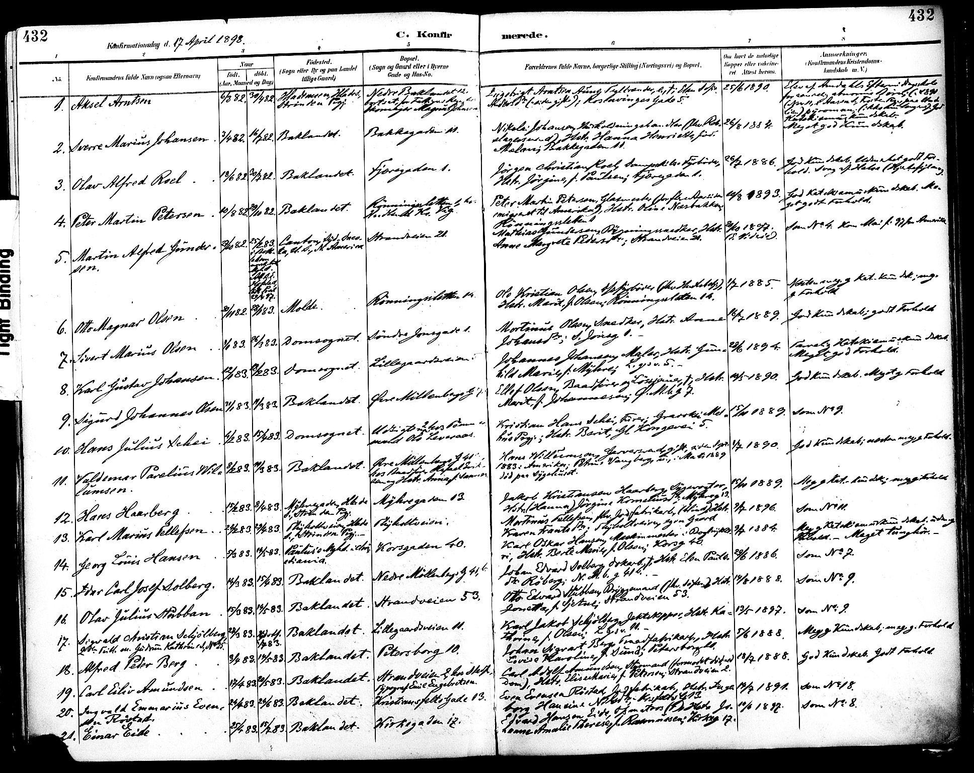SAT, Ministerialprotokoller, klokkerbøker og fødselsregistre - Sør-Trøndelag, 604/L0197: Ministerialbok nr. 604A18, 1893-1900, s. 432