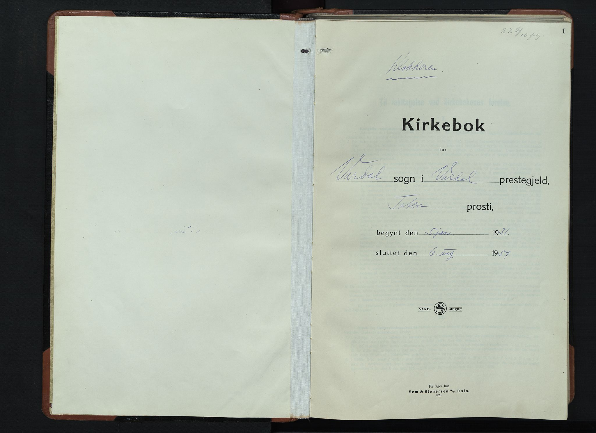 SAH, Vardal prestekontor, H/Ha/Hab/L0018: Klokkerbok nr. 18, 1931-1951, s. 1