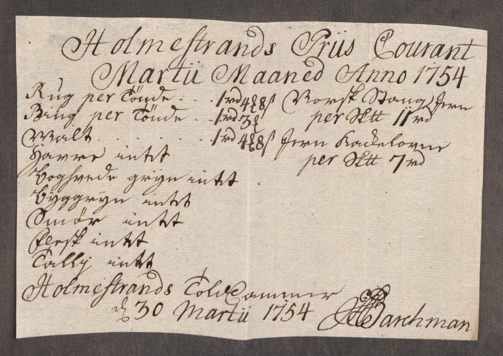 RA, Rentekammeret inntil 1814, Realistisk ordnet avdeling, Oe/L0005: [Ø1]: Priskuranter, 1753-1757, s. 241