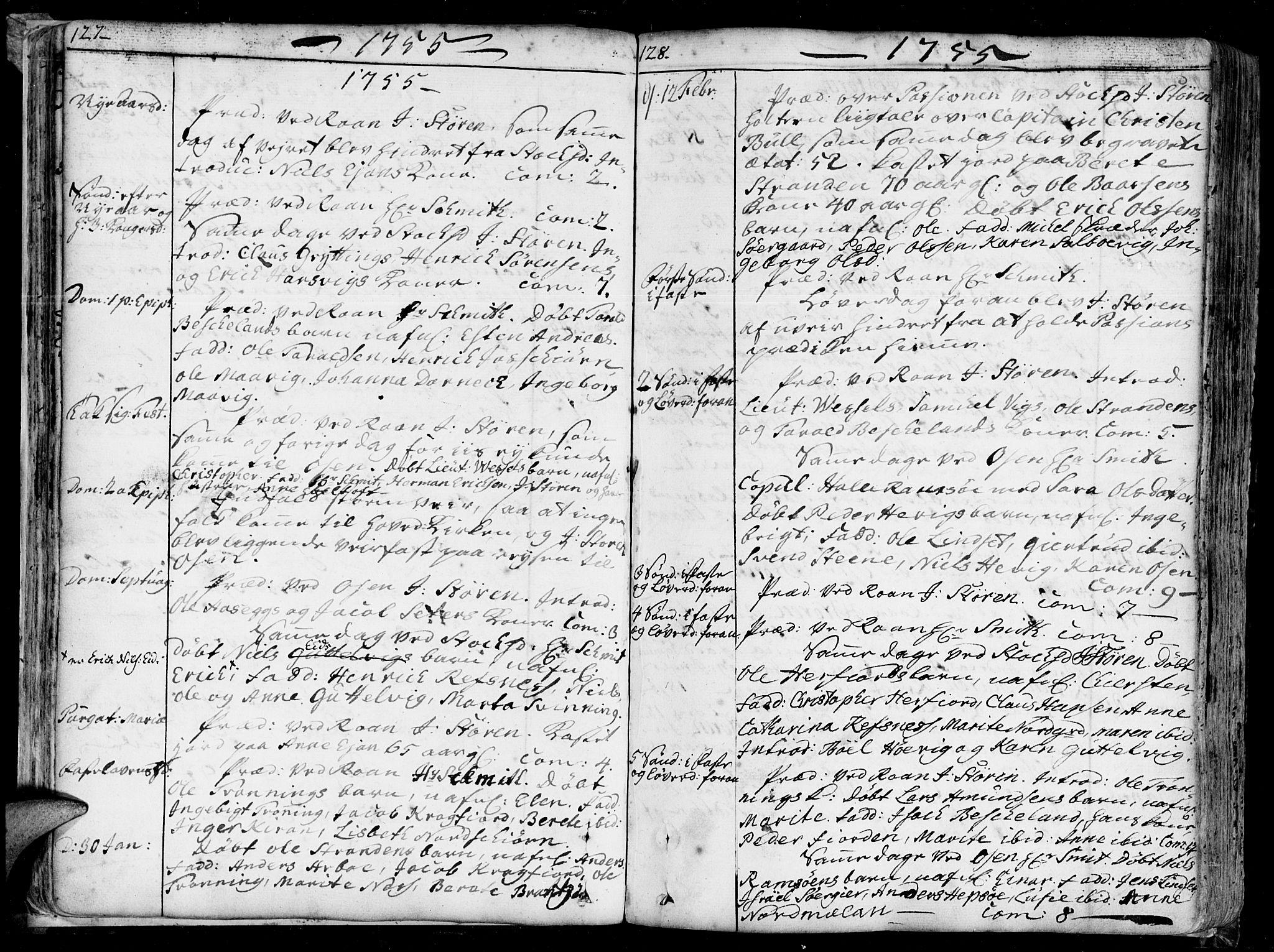 SAT, Ministerialprotokoller, klokkerbøker og fødselsregistre - Sør-Trøndelag, 657/L0700: Ministerialbok nr. 657A01, 1732-1801, s. 127-128