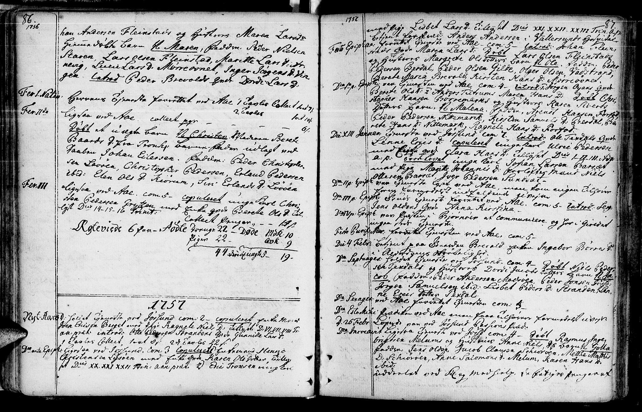 SAT, Ministerialprotokoller, klokkerbøker og fødselsregistre - Sør-Trøndelag, 655/L0672: Ministerialbok nr. 655A01, 1750-1779, s. 86-87