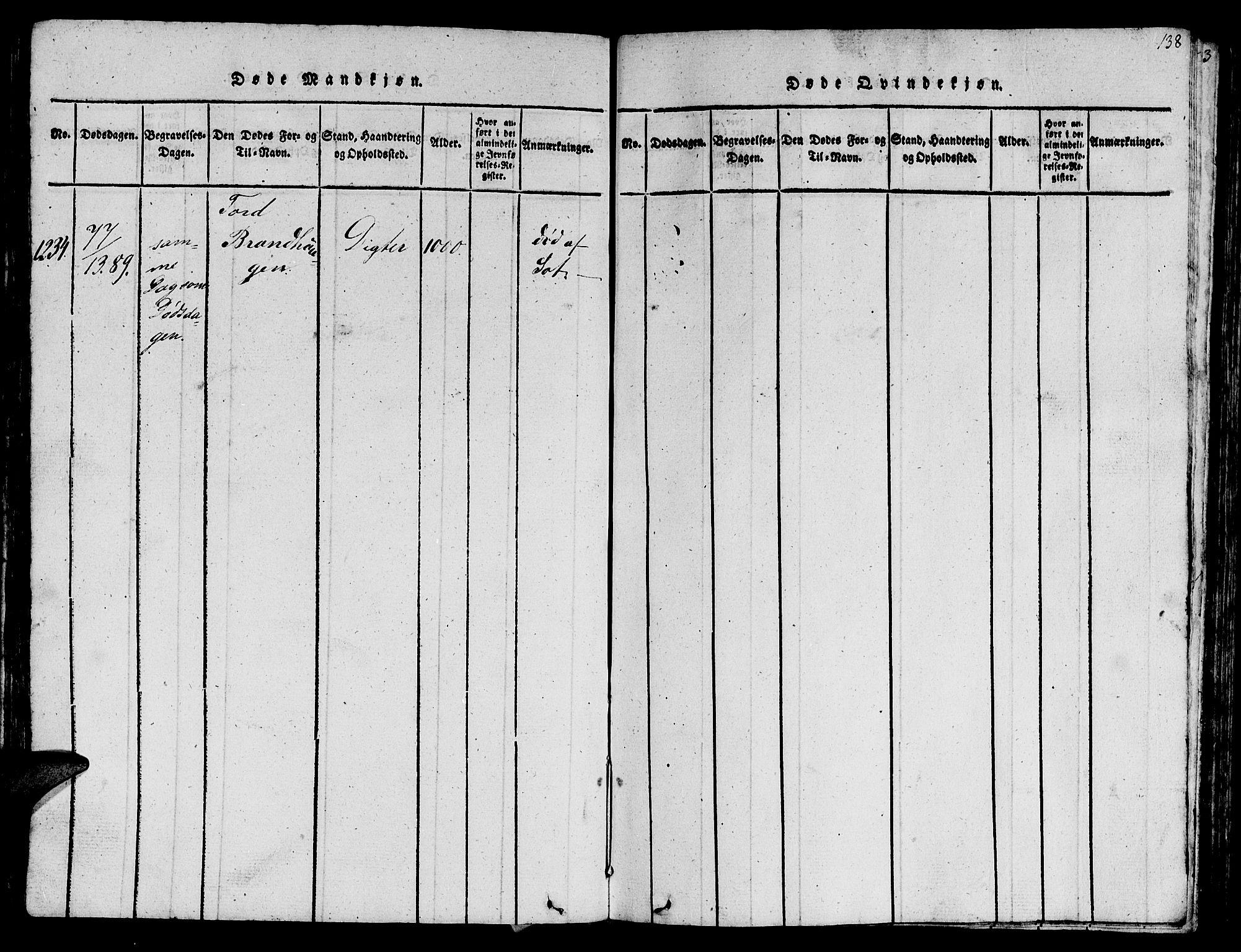 SAT, Ministerialprotokoller, klokkerbøker og fødselsregistre - Sør-Trøndelag, 612/L0385: Klokkerbok nr. 612C01, 1816-1845, s. 138