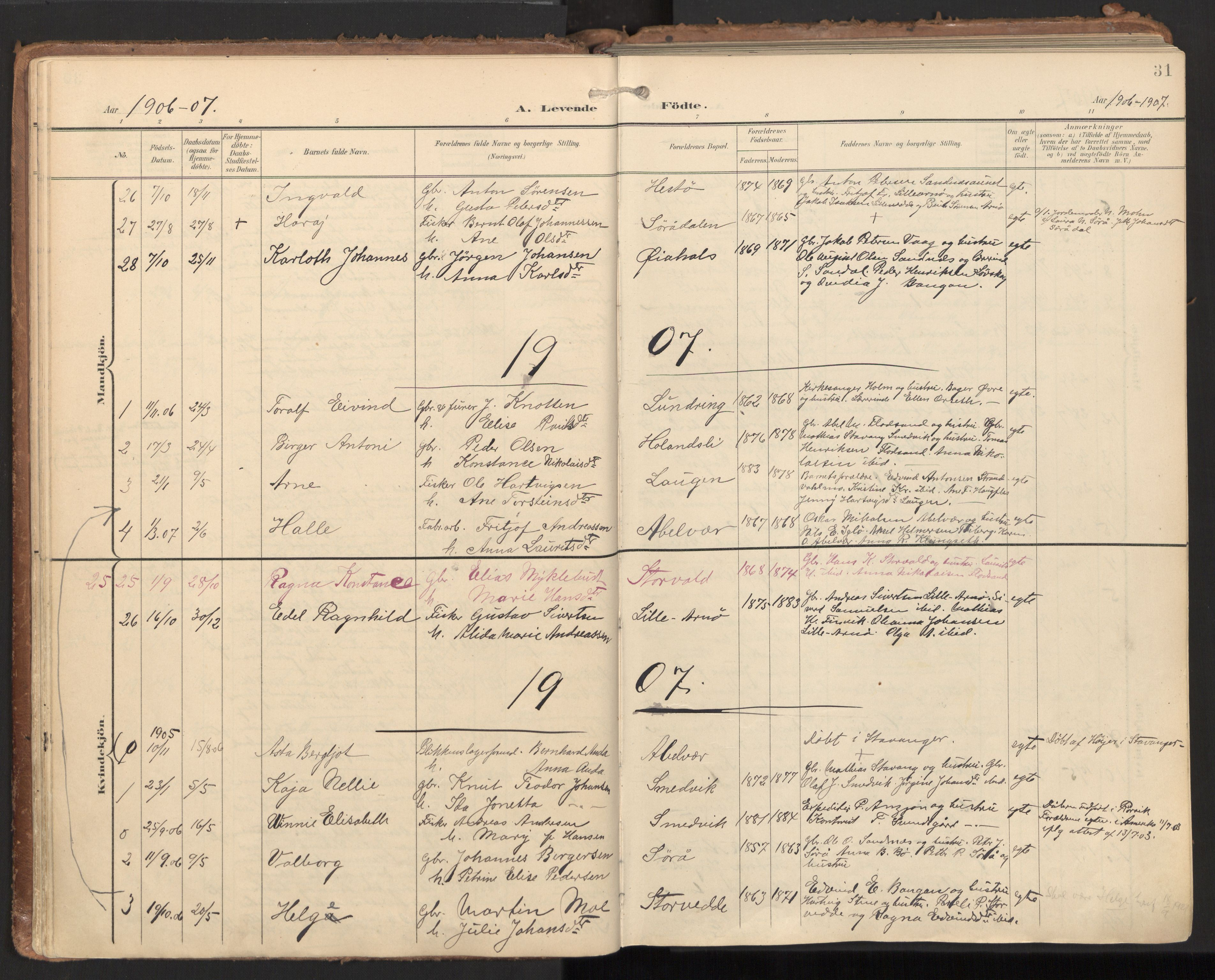 SAT, Ministerialprotokoller, klokkerbøker og fødselsregistre - Nord-Trøndelag, 784/L0677: Ministerialbok nr. 784A12, 1900-1920, s. 31