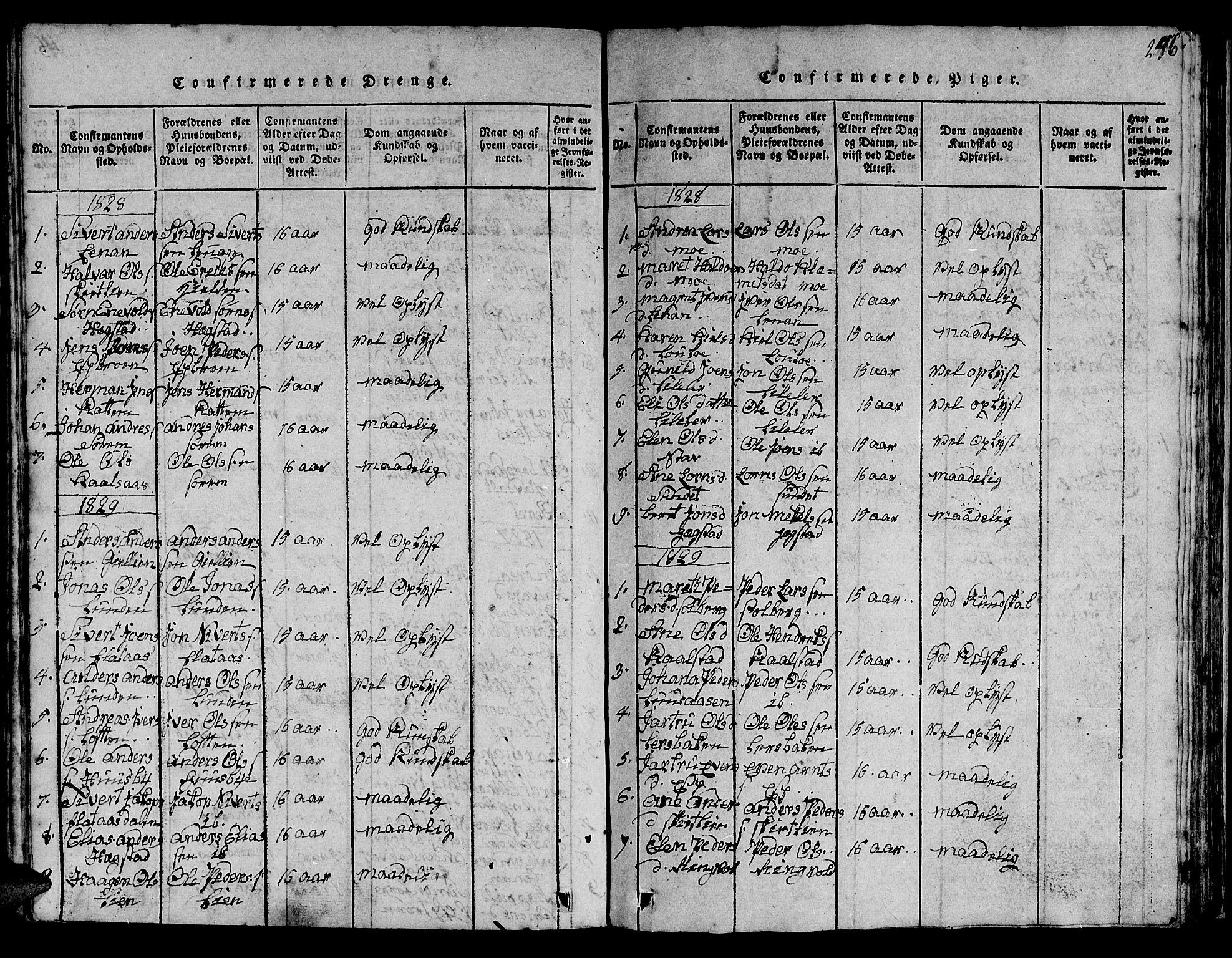SAT, Ministerialprotokoller, klokkerbøker og fødselsregistre - Sør-Trøndelag, 613/L0393: Klokkerbok nr. 613C01, 1816-1886, s. 246