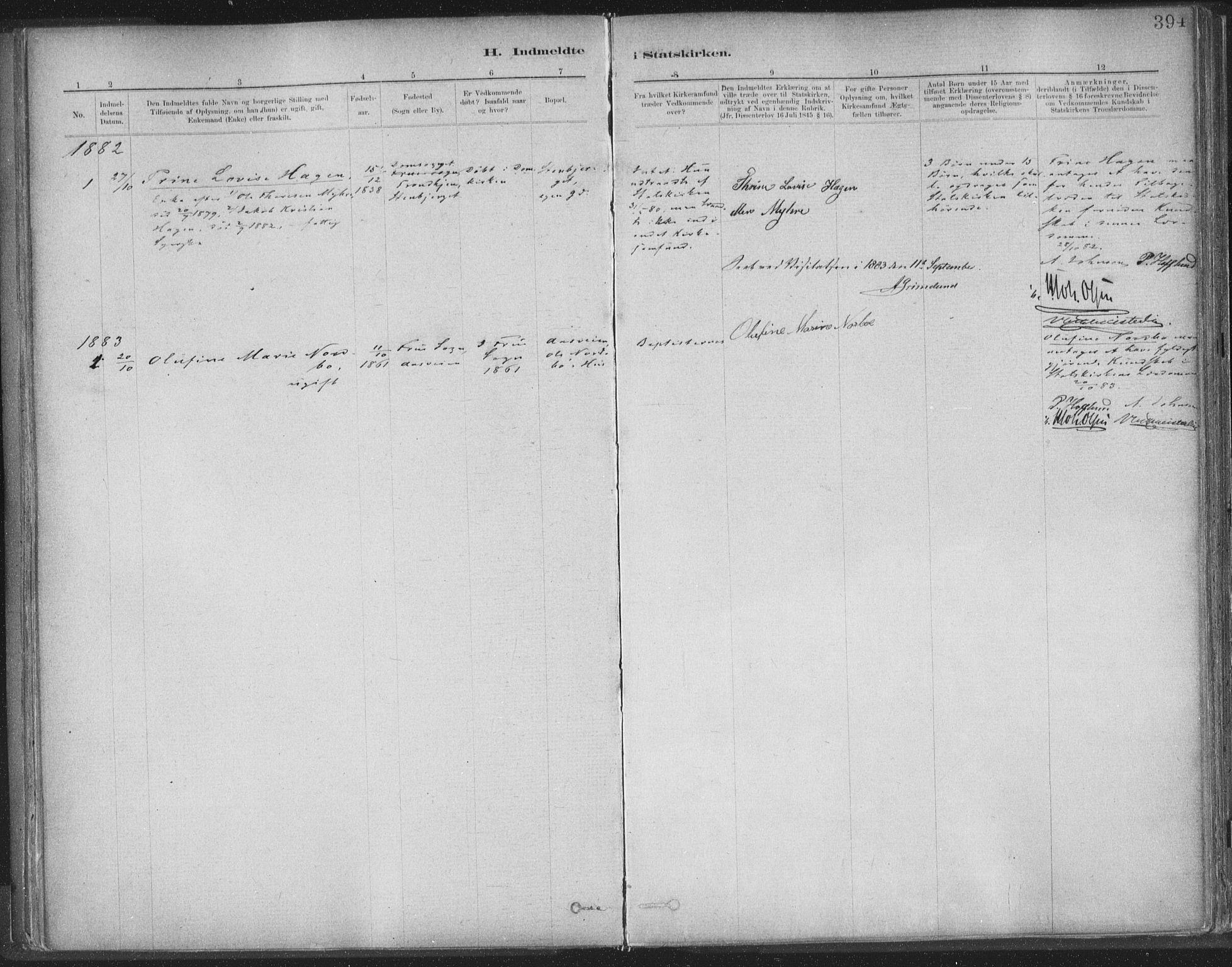 SAT, Ministerialprotokoller, klokkerbøker og fødselsregistre - Sør-Trøndelag, 603/L0163: Ministerialbok nr. 603A02, 1879-1895, s. 394