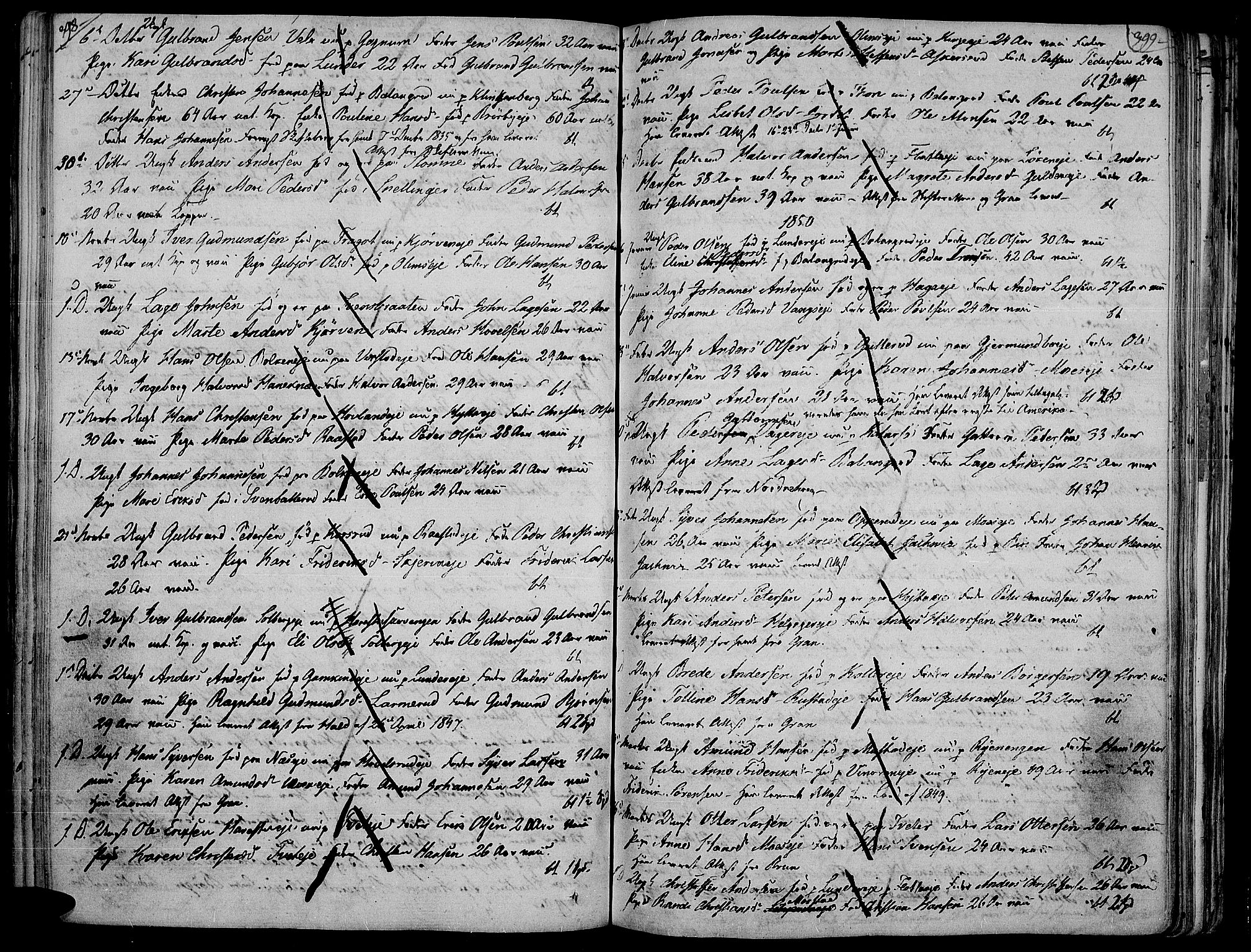 SAH, Jevnaker prestekontor, Ministerialbok nr. 4, 1800-1861, s. 398-399