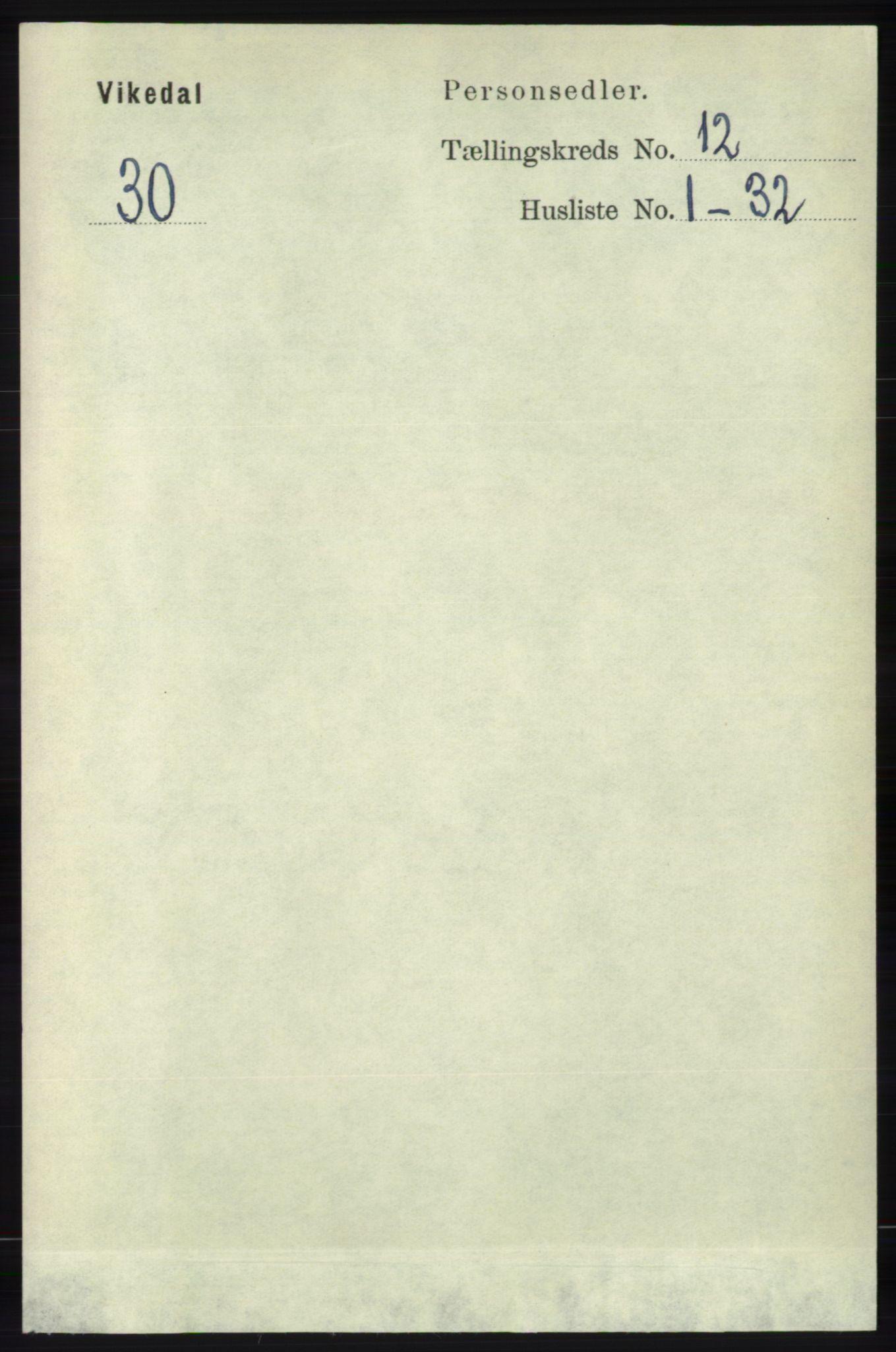 RA, Folketelling 1891 for 1157 Vikedal herred, 1891, s. 3181