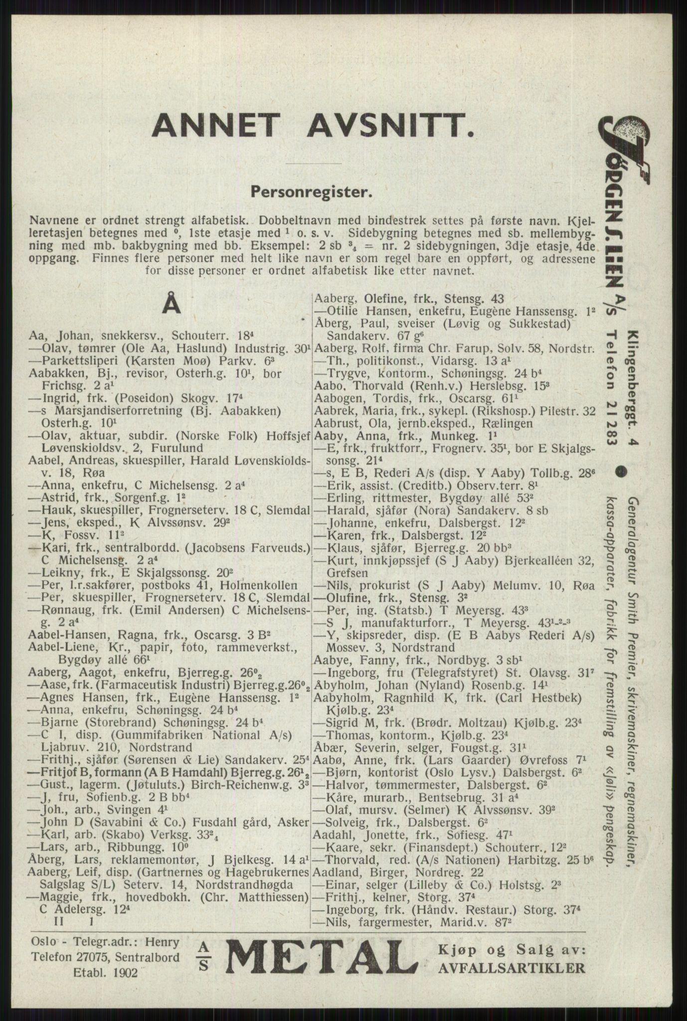 RA, Oslo adressebok (publikasjon)*, 1941, s. 45