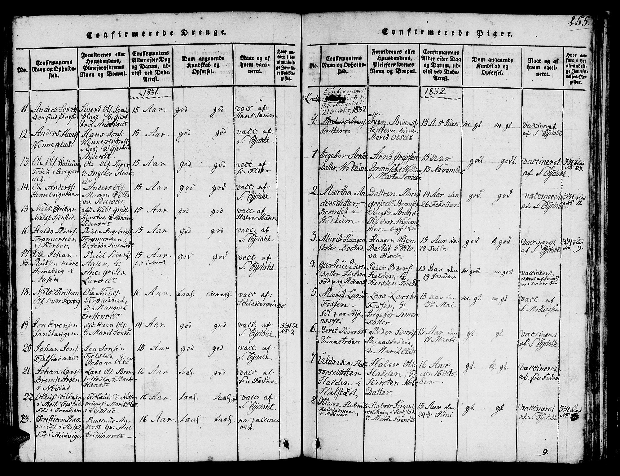 SAT, Ministerialprotokoller, klokkerbøker og fødselsregistre - Sør-Trøndelag, 616/L0420: Klokkerbok nr. 616C03, 1817-1835, s. 255