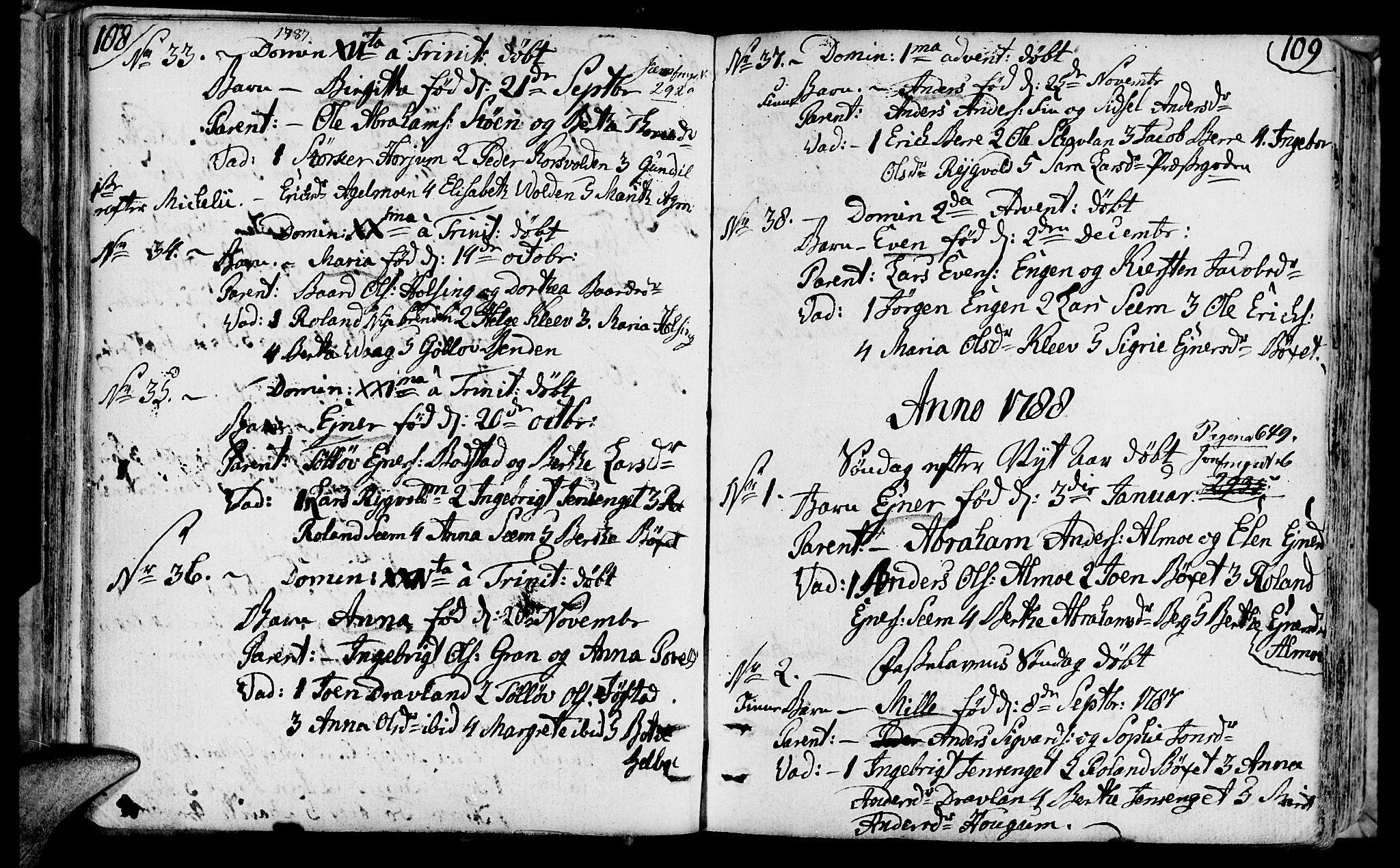 SAT, Ministerialprotokoller, klokkerbøker og fødselsregistre - Nord-Trøndelag, 749/L0468: Ministerialbok nr. 749A02, 1787-1817, s. 108-109