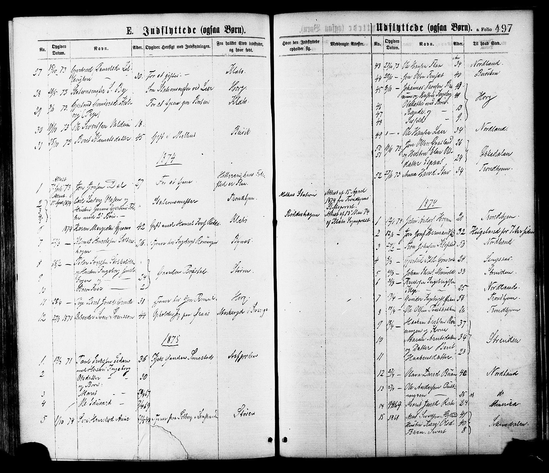 SAT, Ministerialprotokoller, klokkerbøker og fødselsregistre - Sør-Trøndelag, 691/L1079: Ministerialbok nr. 691A11, 1873-1886, s. 497