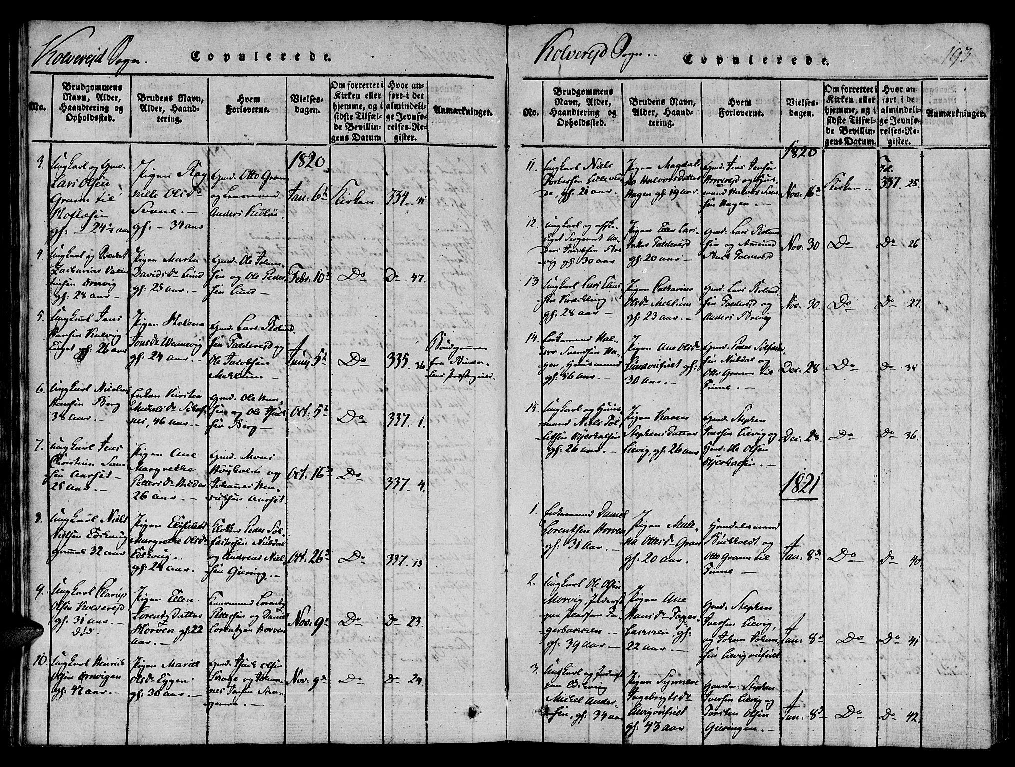 SAT, Ministerialprotokoller, klokkerbøker og fødselsregistre - Nord-Trøndelag, 780/L0636: Ministerialbok nr. 780A03 /1, 1815-1830, s. 193