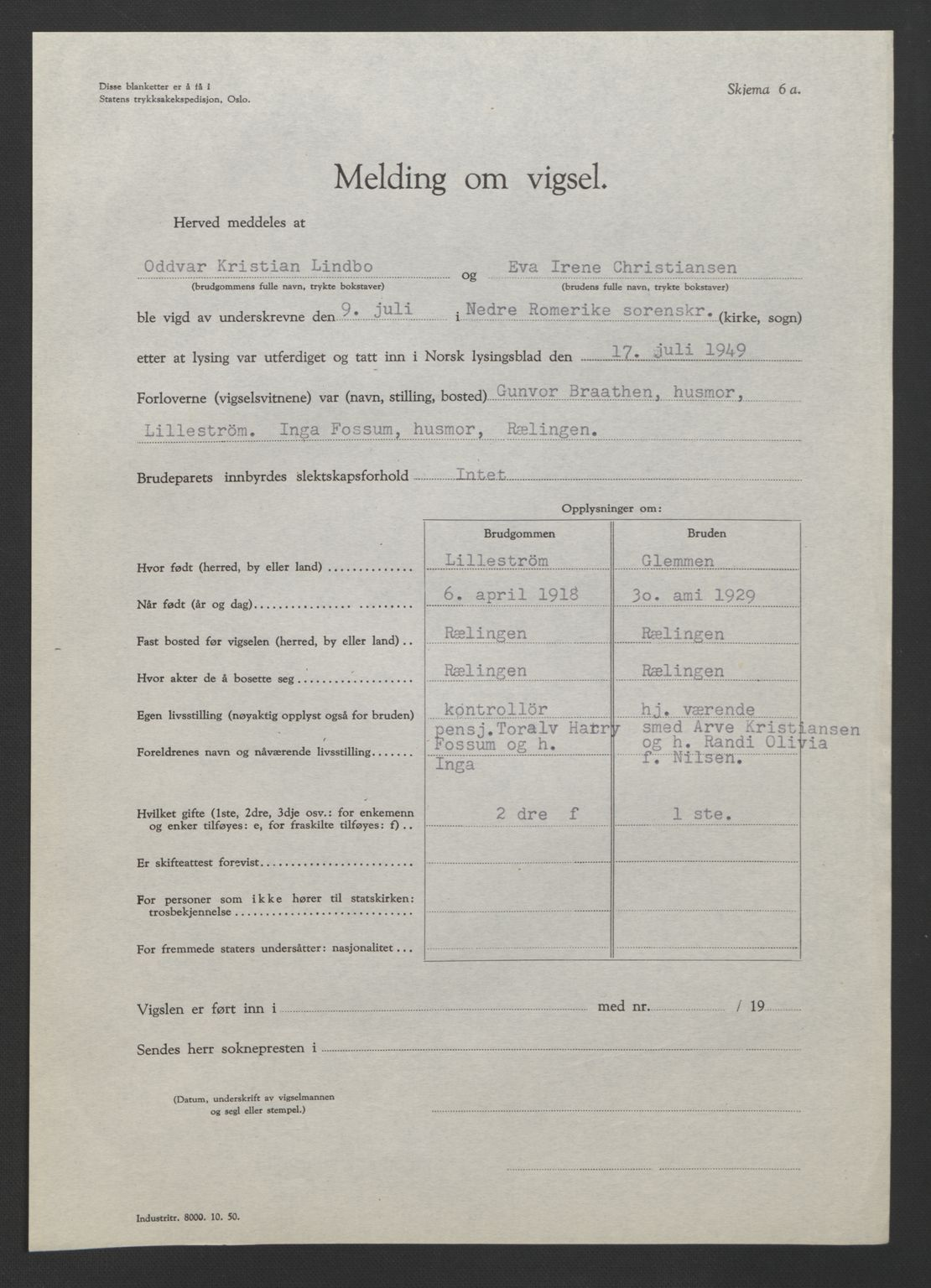 SAO, Nedre Romerike sorenskriveri, L/Lb/L0007: Vigselsbok - borgerlige vielser, 1946-1950, s. upaginert