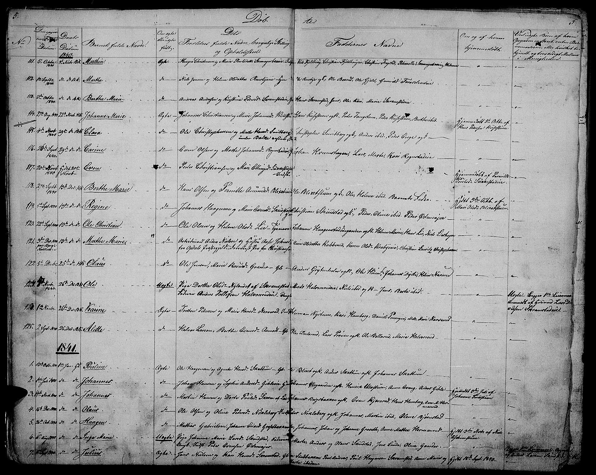 SAH, Østre Toten prestekontor, Klokkerbok nr. 2, 1840-1847, s. 5
