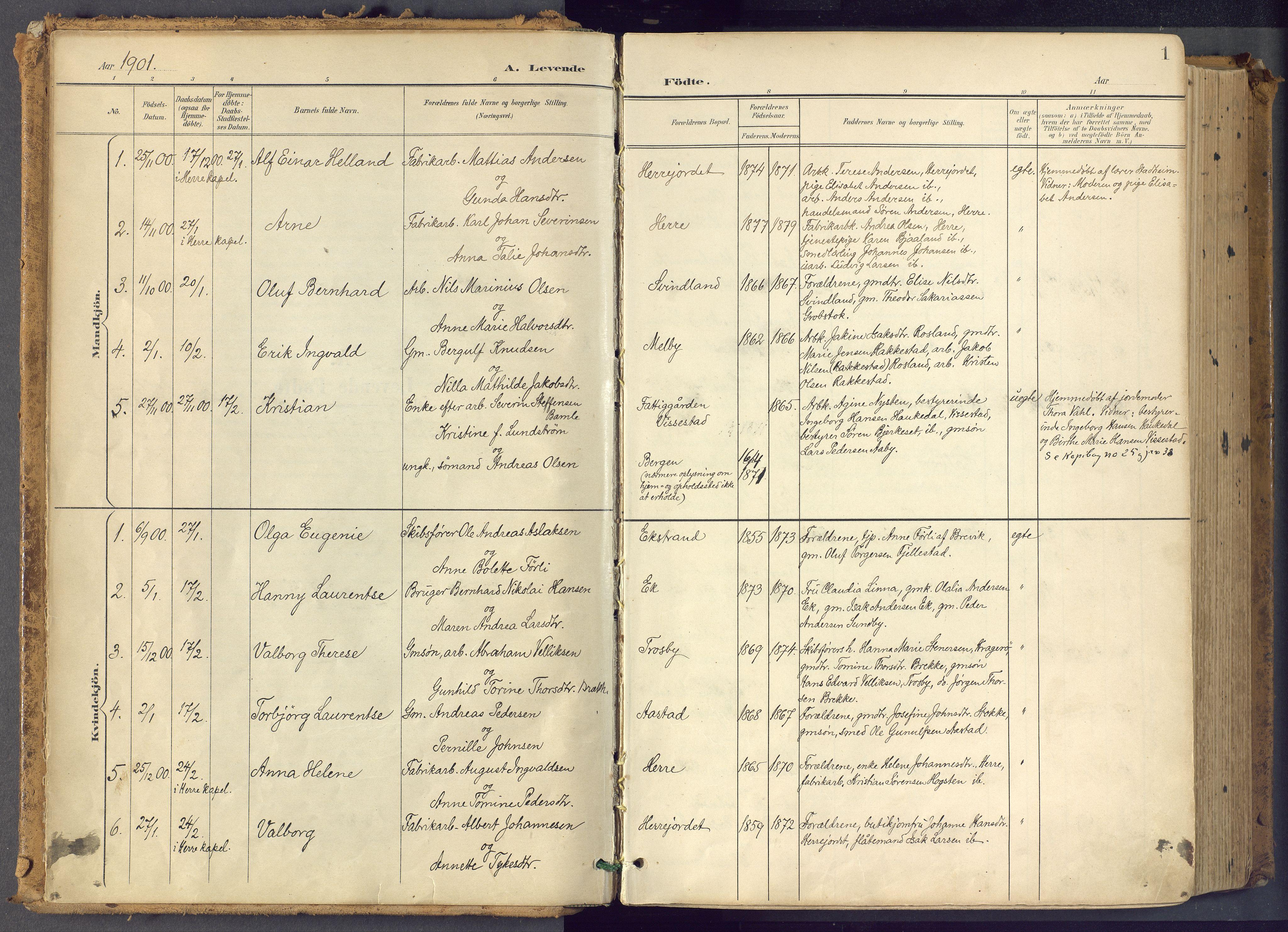 SAKO, Bamble kirkebøker, F/Fa/L0009: Ministerialbok nr. I 9, 1901-1917, s. 1
