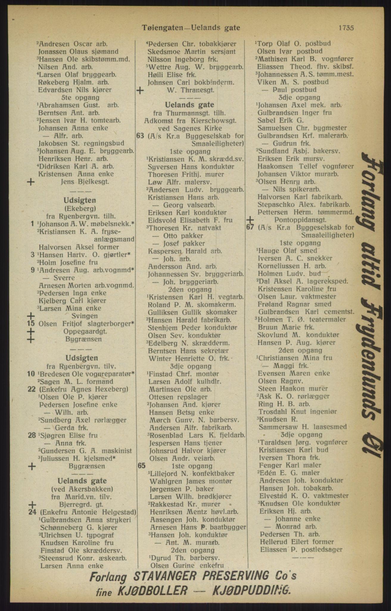 RA, Kristiania adressebok (publikasjon)*, 1915, s. 1735