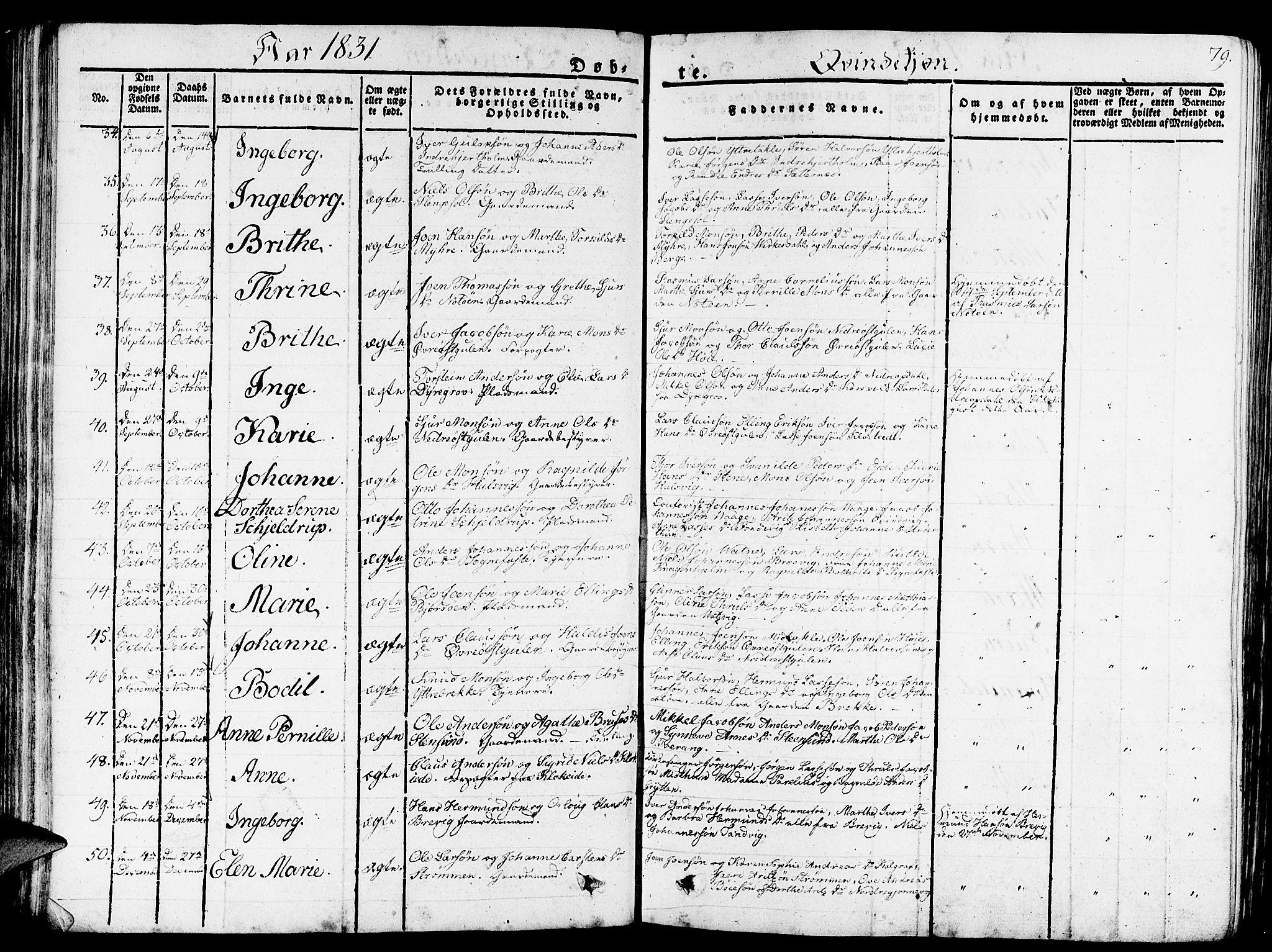 SAB, Gulen Sokneprestembete, Ministerialbok nr. A 19, 1826-1836, s. 79