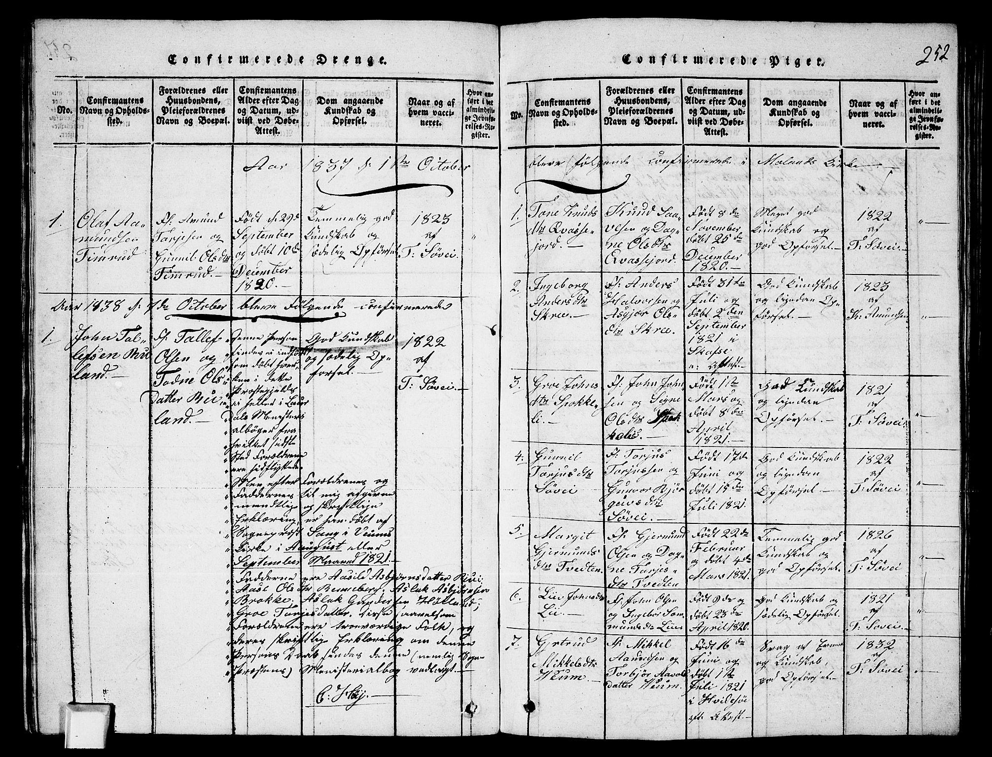SAKO, Fyresdal kirkebøker, G/Ga/L0003: Klokkerbok nr. I 3, 1815-1863, s. 252