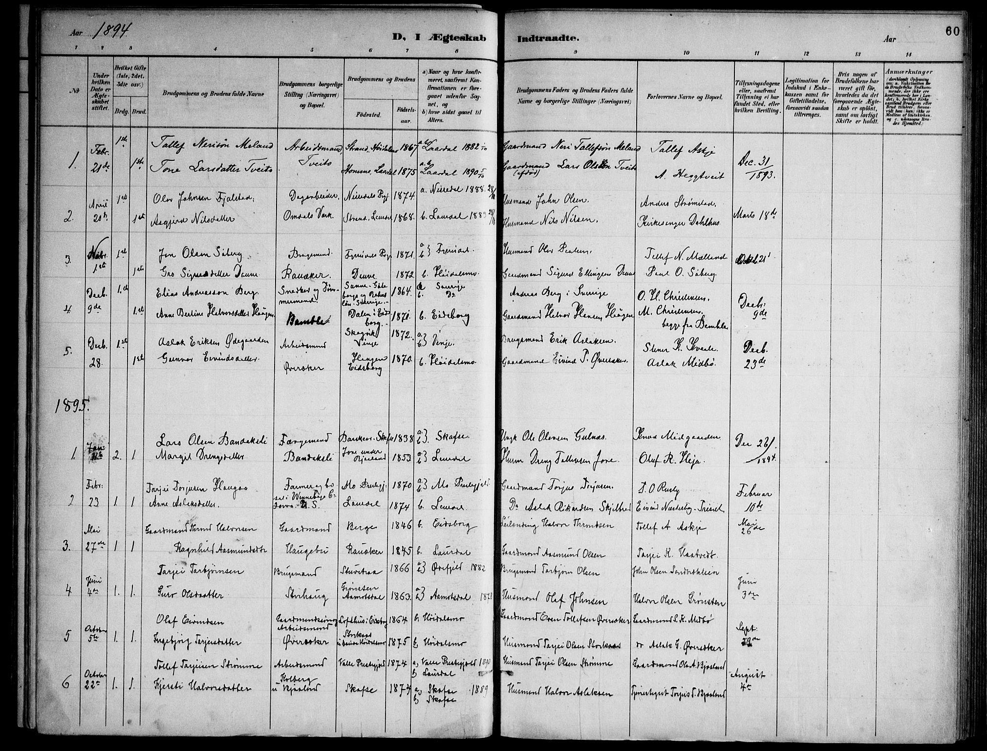 SAKO, Lårdal kirkebøker, F/Fa/L0007: Ministerialbok nr. I 7, 1887-1906, s. 60
