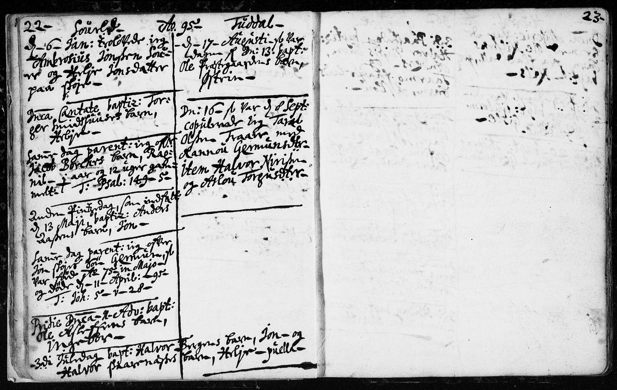 SAKO, Hjartdal kirkebøker, F/Fa/L0001: Ministerialbok nr. I 1, 1685-1714, s. 22-23