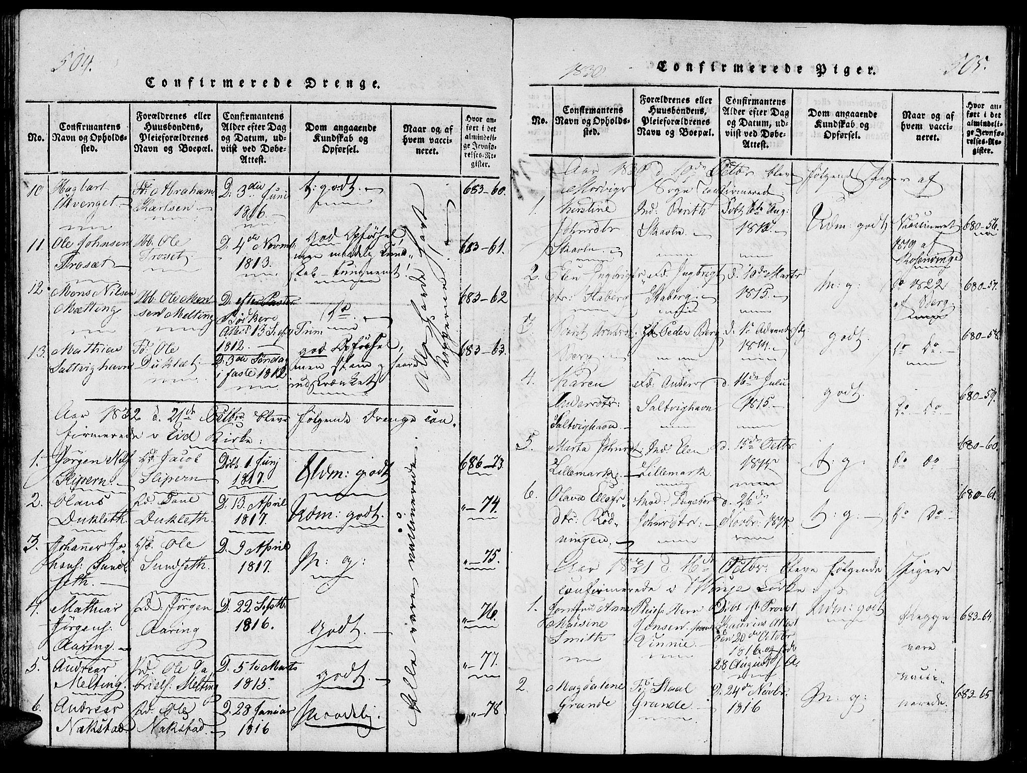 SAT, Ministerialprotokoller, klokkerbøker og fødselsregistre - Nord-Trøndelag, 733/L0322: Ministerialbok nr. 733A01, 1817-1842, s. 504-505
