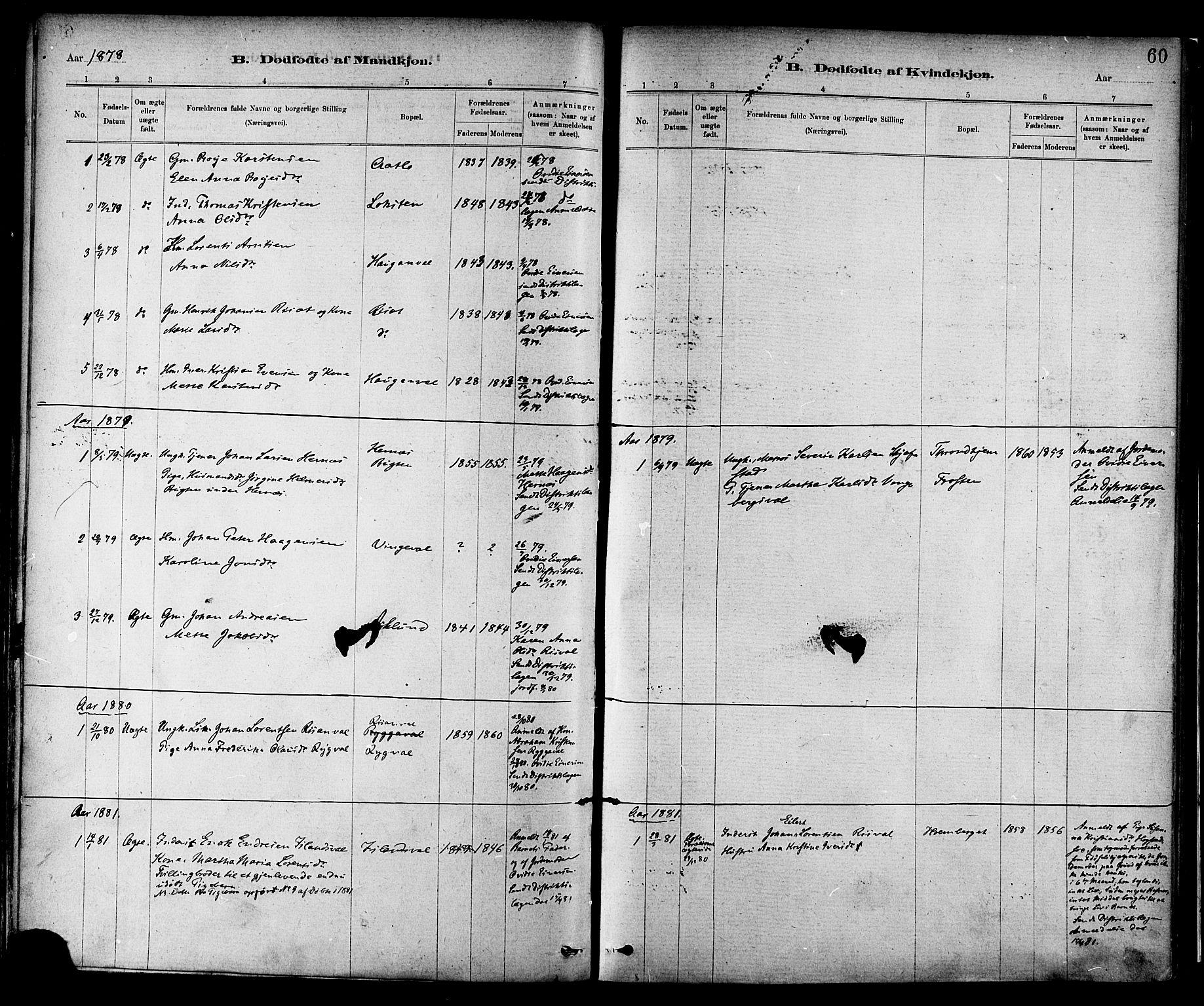 SAT, Ministerialprotokoller, klokkerbøker og fødselsregistre - Nord-Trøndelag, 713/L0120: Ministerialbok nr. 713A09, 1878-1887, s. 60