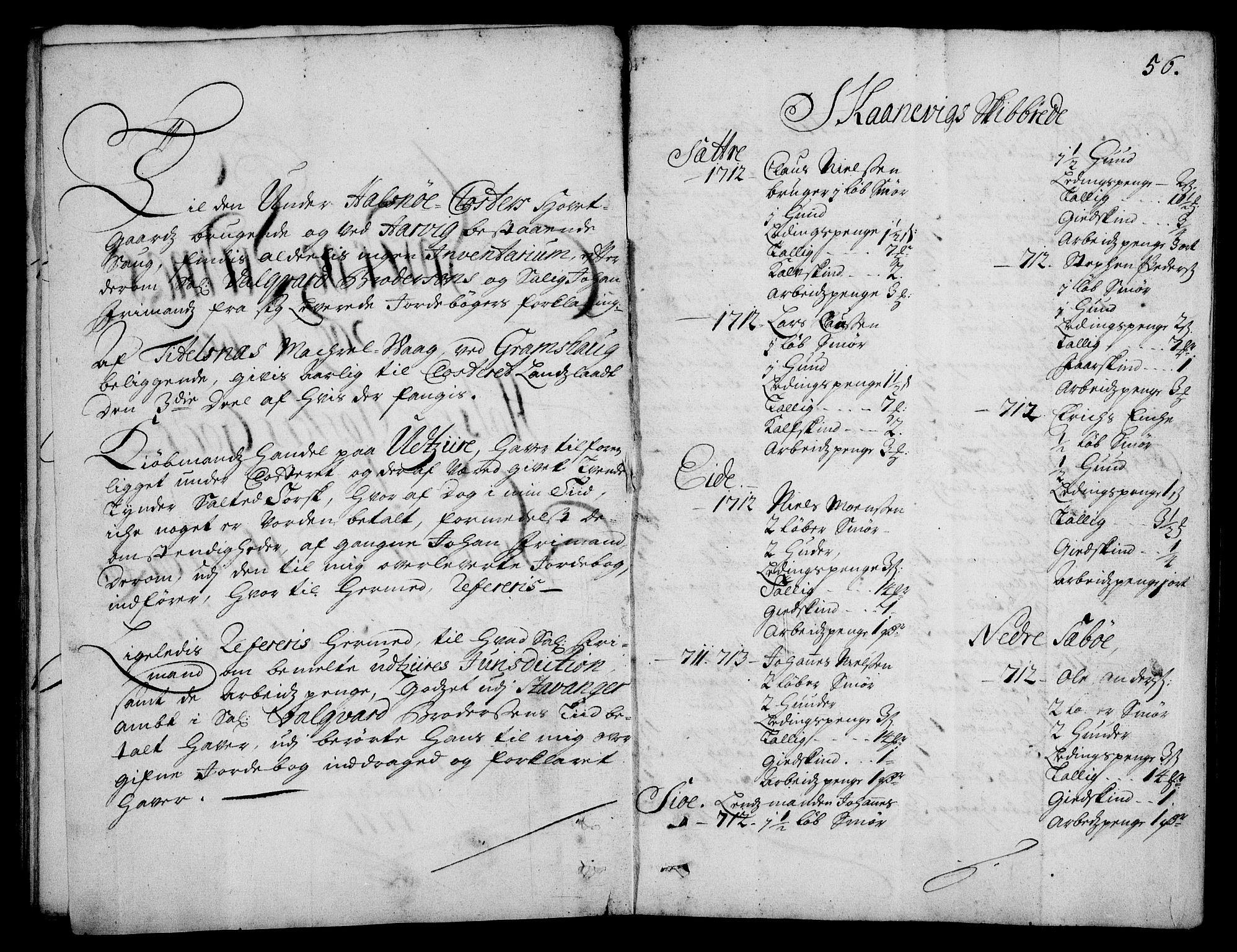 RA, Rentekammeret inntil 1814, Realistisk ordnet avdeling, On/L0003: [Jj 4]: Kommisjonsforretning over Vilhelm Hanssøns forpaktning av Halsnøy klosters gods, 1712-1722, s. 55b-56a