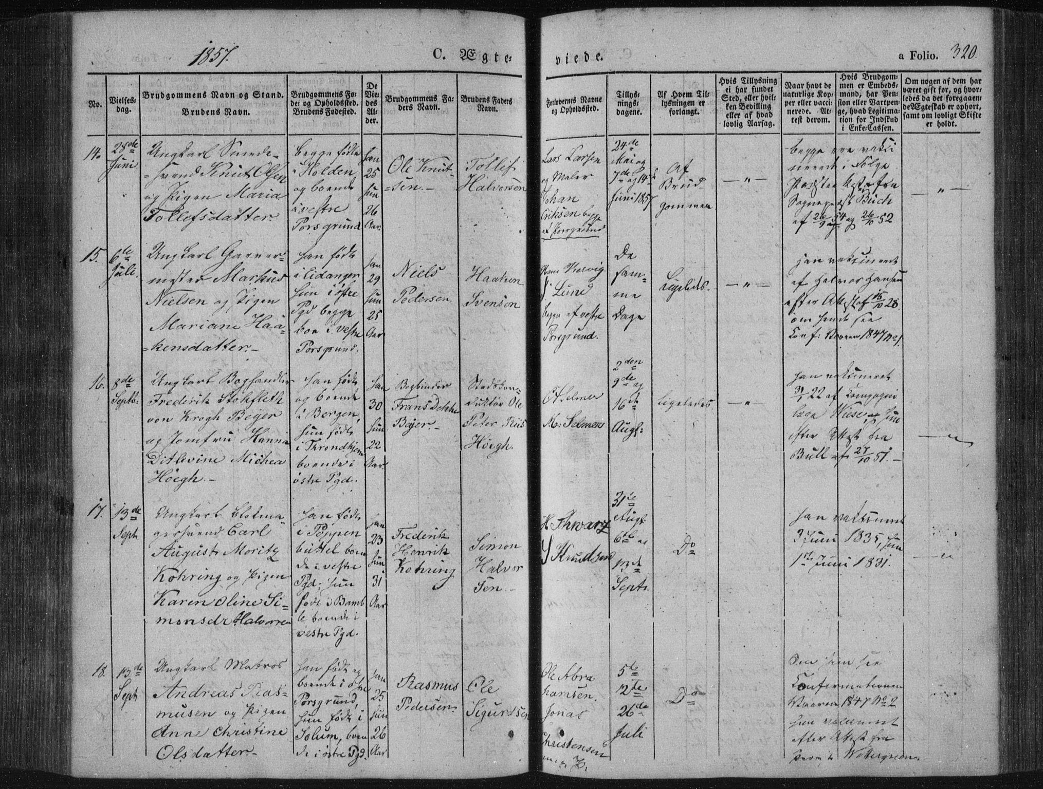 SAKO, Porsgrunn kirkebøker , F/Fa/L0006: Ministerialbok nr. 6, 1841-1857, s. 320