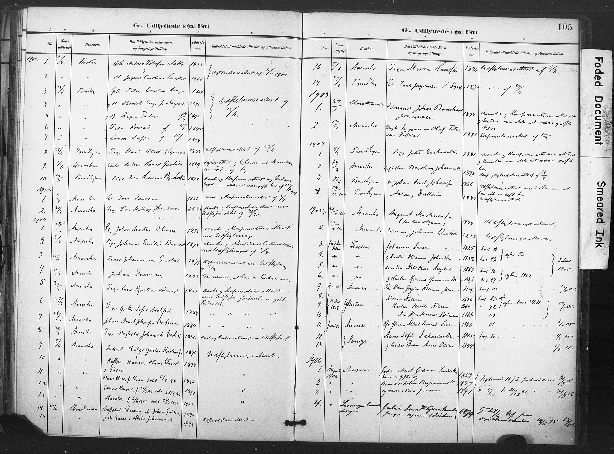 SAT, Ministerialprotokoller, klokkerbøker og fødselsregistre - Nord-Trøndelag, 719/L0179: Ministerialbok nr. 719A02, 1901-1923, s. 105